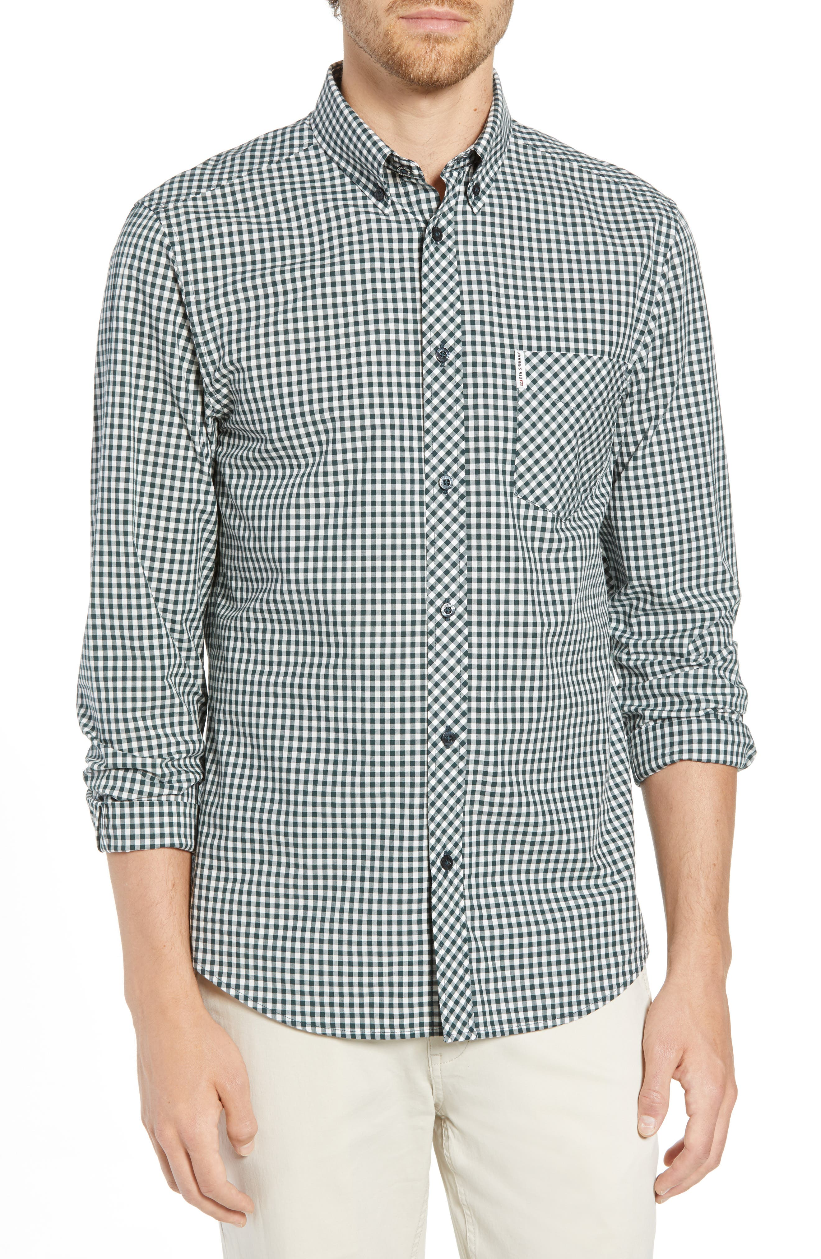 Mod Fit Gingham Sport Shirt,                             Main thumbnail 1, color,                             Dark Green