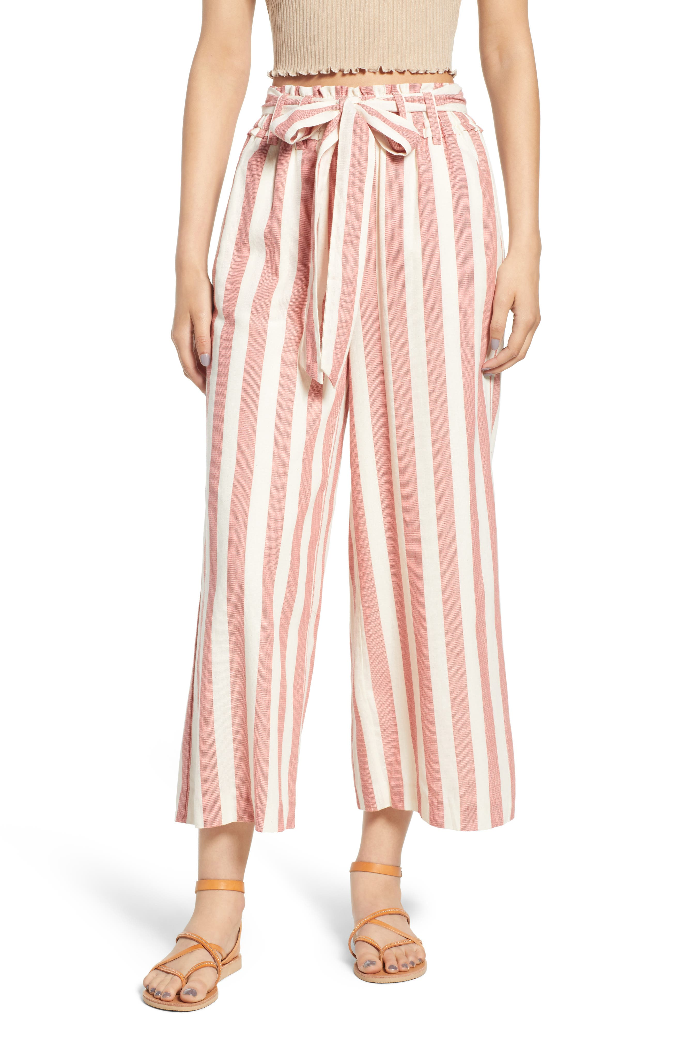 Stripe Paperbag Waist Pants,                             Main thumbnail 1, color,                             Red Stripe