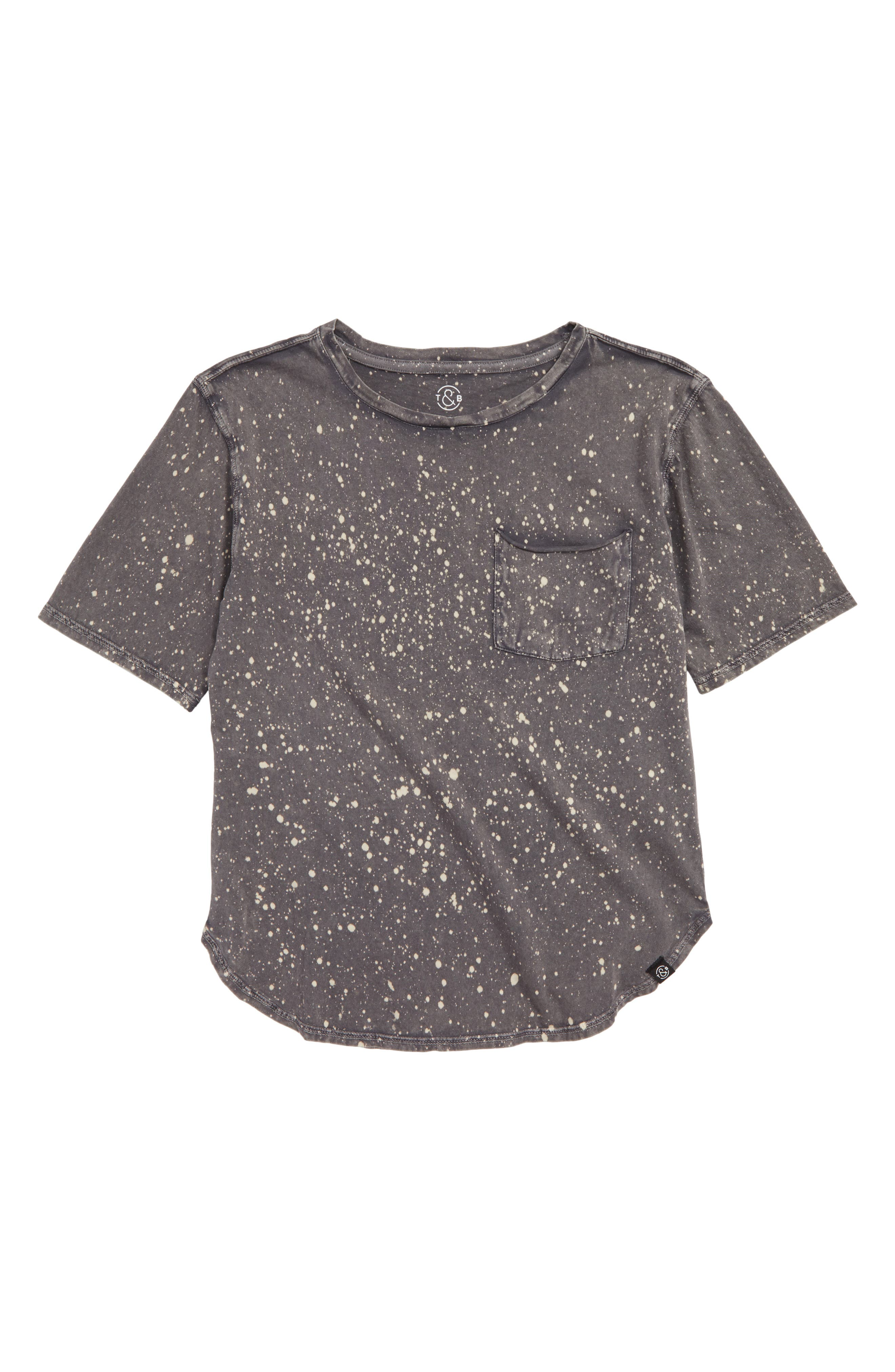 Spatter Pocket Tee,                         Main,                         color, Grey Volcano Bleach Wash