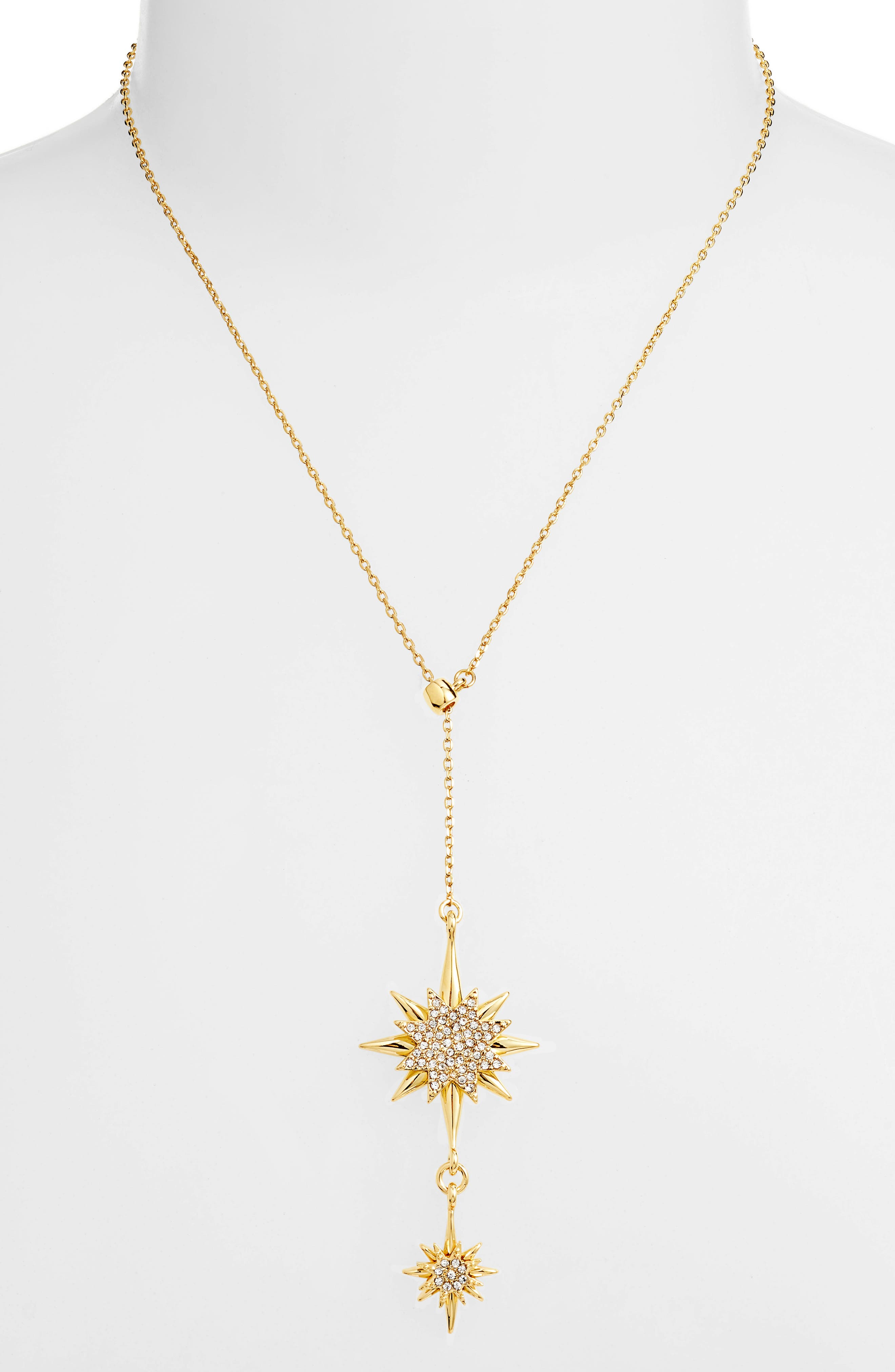 Crystal Starburst Lariat Necklace,                             Main thumbnail 1, color,                             Gold