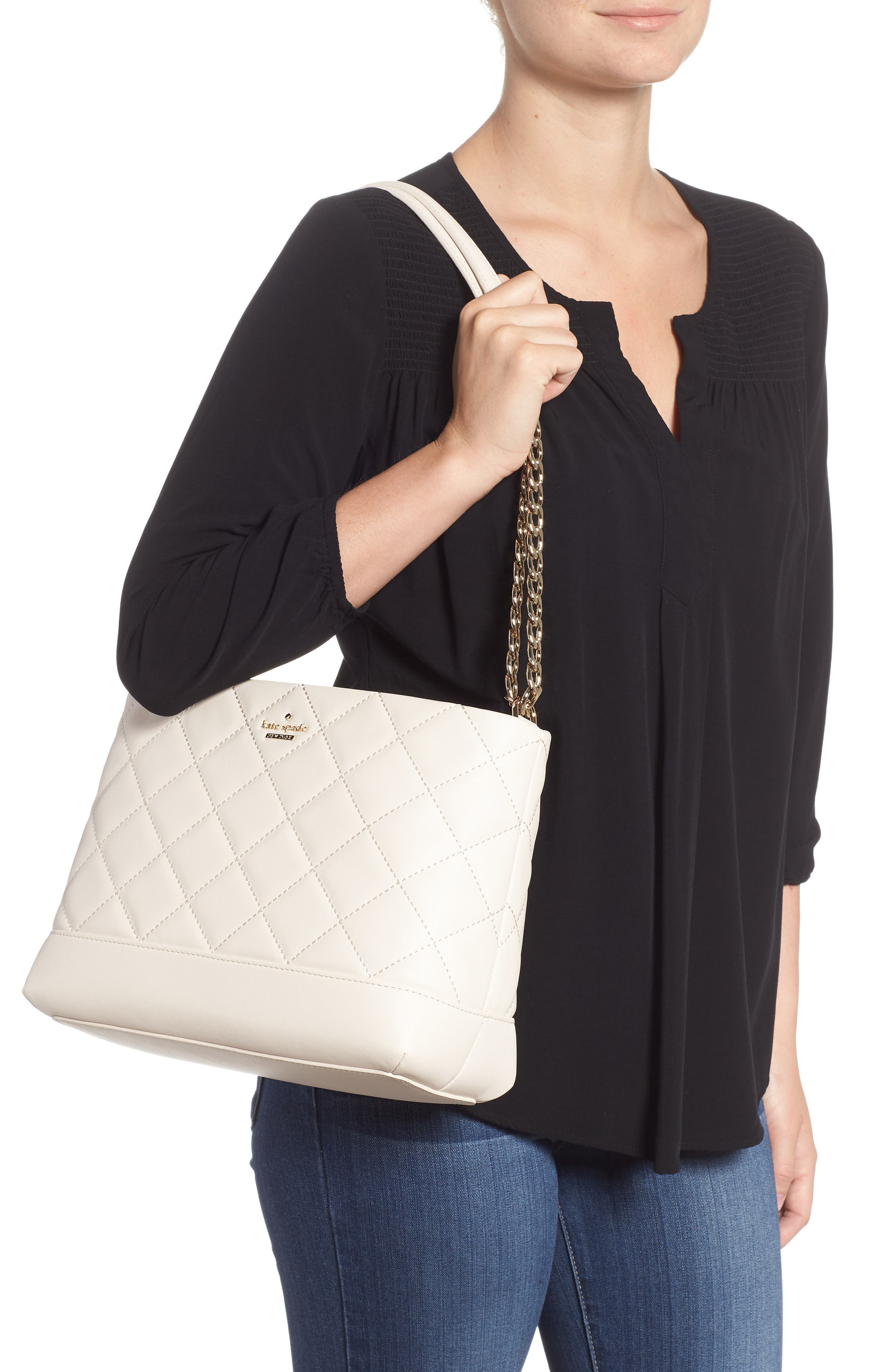 emerson place lorie quilted leather shoulder bag,                             Alternate thumbnail 2, color,                             Bleach Bone