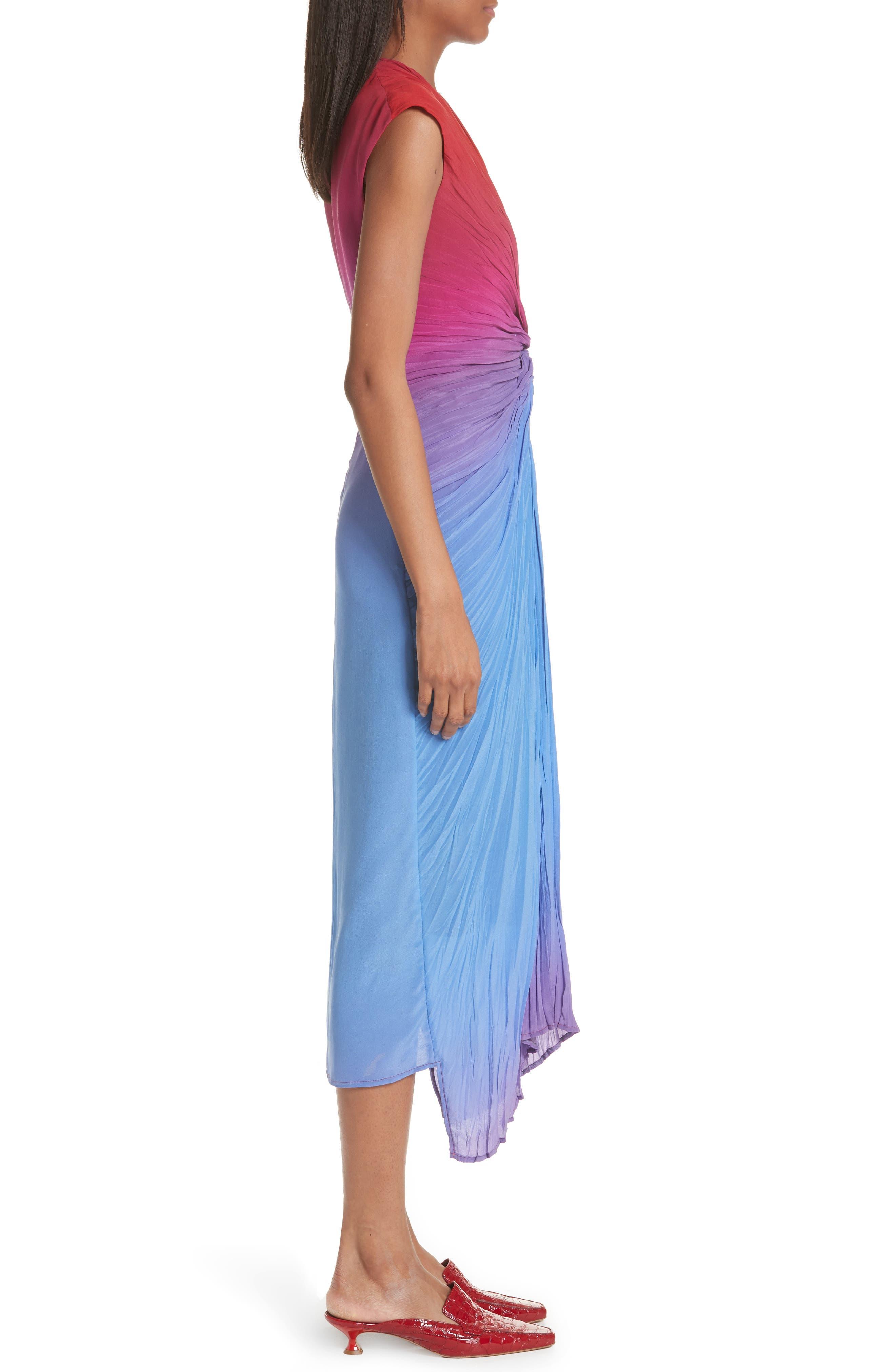 Twist Front Dégradé Silk Dress,                             Alternate thumbnail 4, color,                             Dusty Blue/ Lipstick