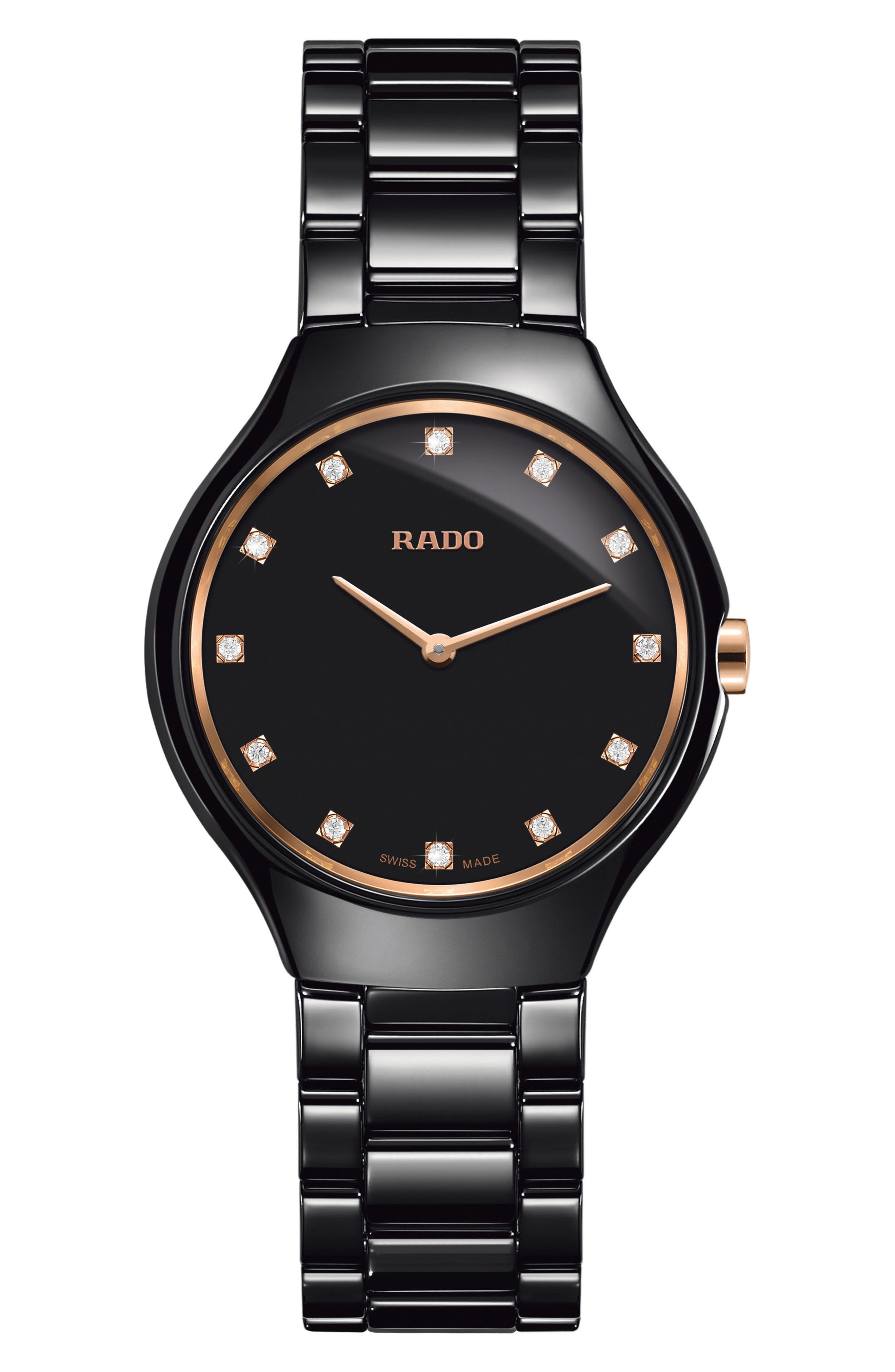 True Thinline Diamond Ceramic Bracelet Watch, 30mm,                         Main,                         color, Black