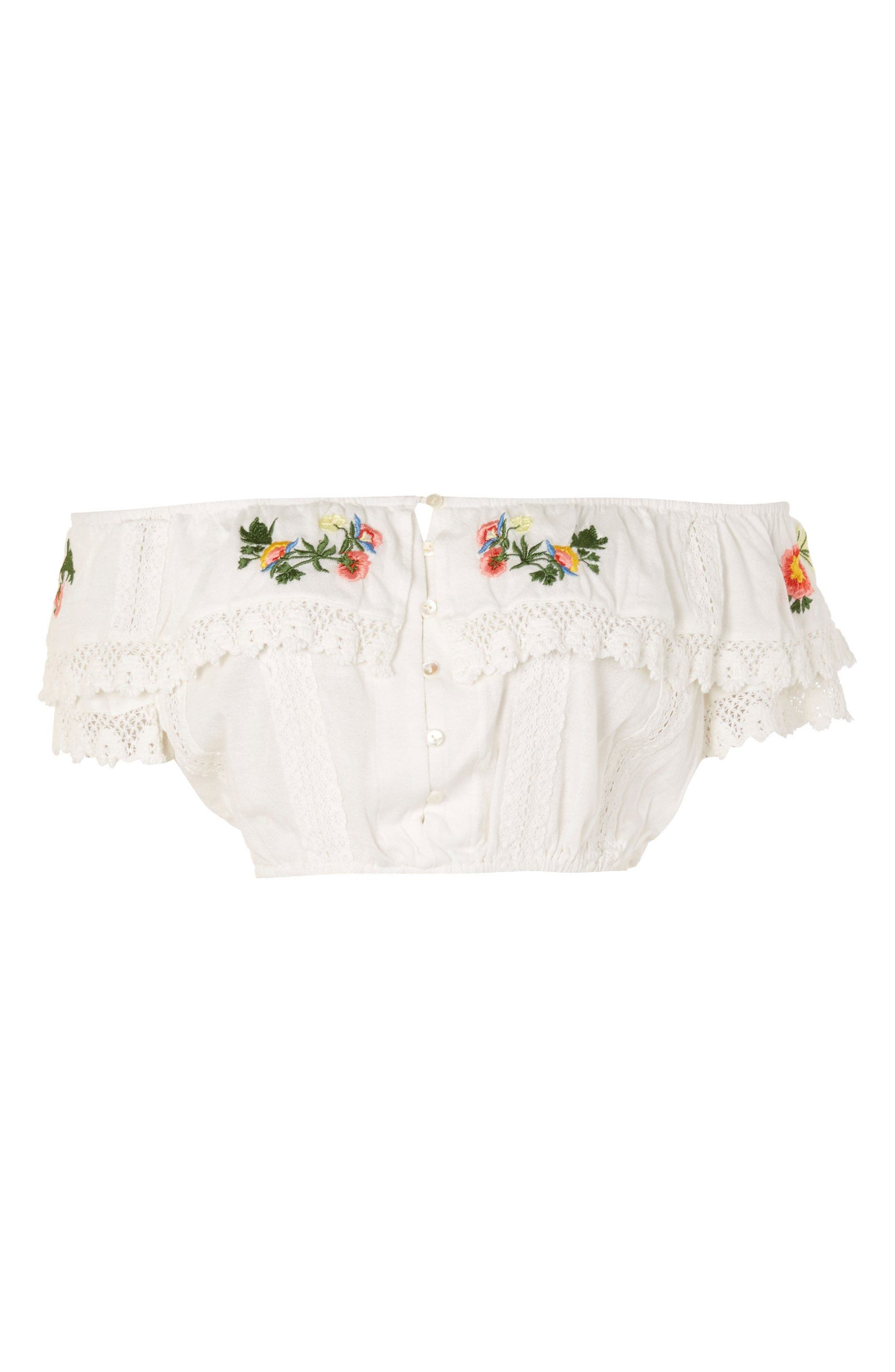 Embroidered Lace Bardot Top,                             Alternate thumbnail 4, color,                             White Multi