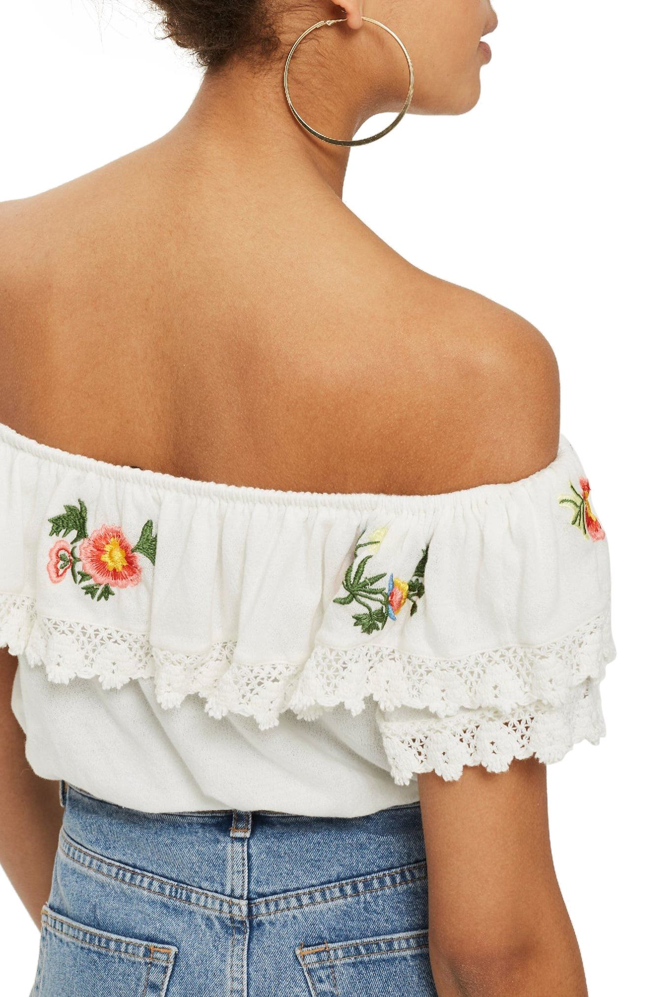 Embroidered Lace Bardot Top,                             Alternate thumbnail 3, color,                             White Multi