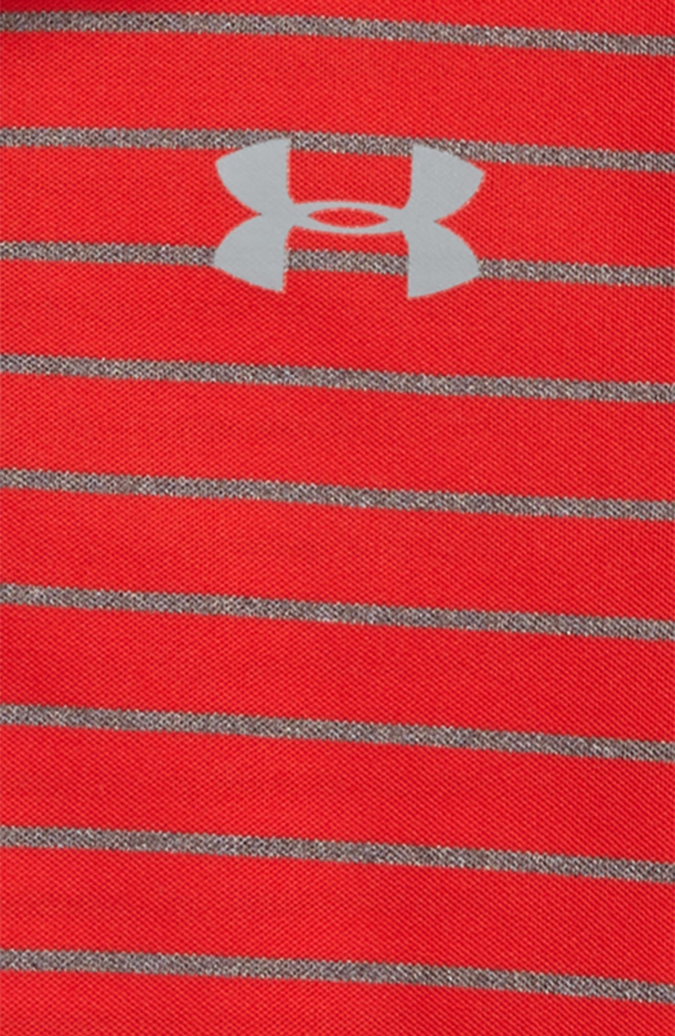 Playoff Stripe HeatGear<sup>®</sup> Polo,                             Alternate thumbnail 2, color,                             Red