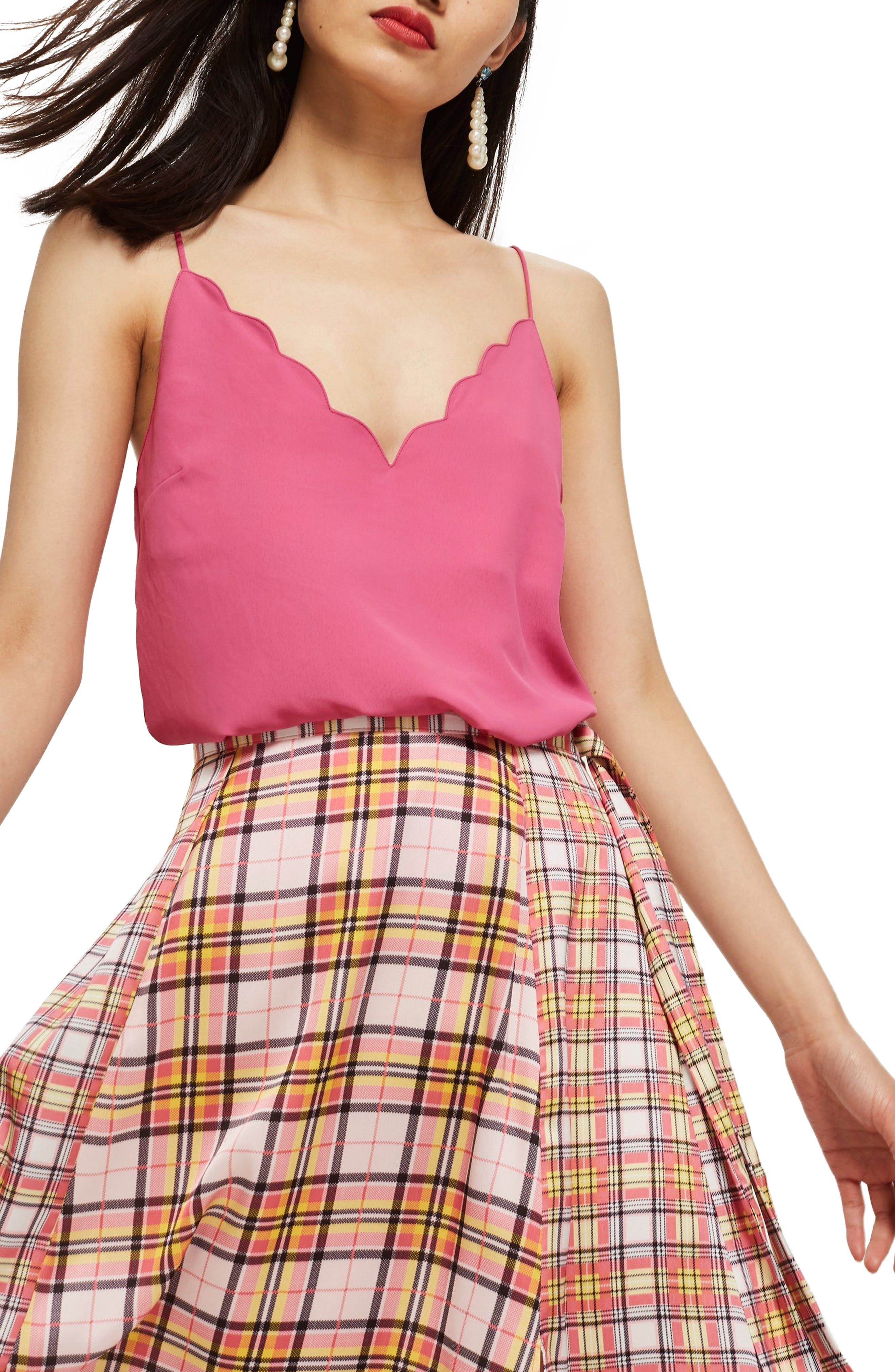 Scallop Camisole,                             Main thumbnail 1, color,                             Pink