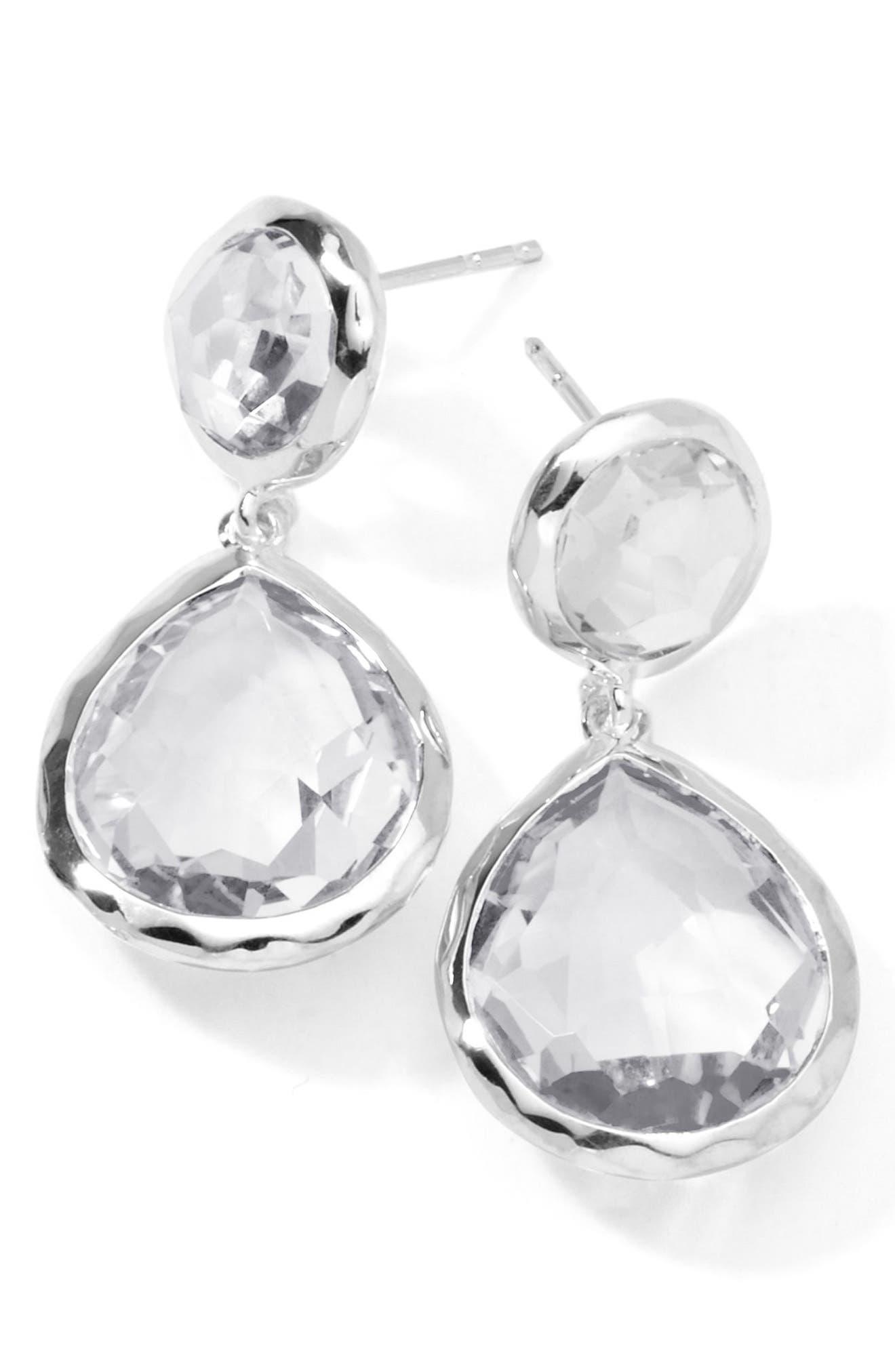 'Rock Candy - Snowman' Drop Earrings,                             Main thumbnail 1, color,                             Silver/Clear Quartz