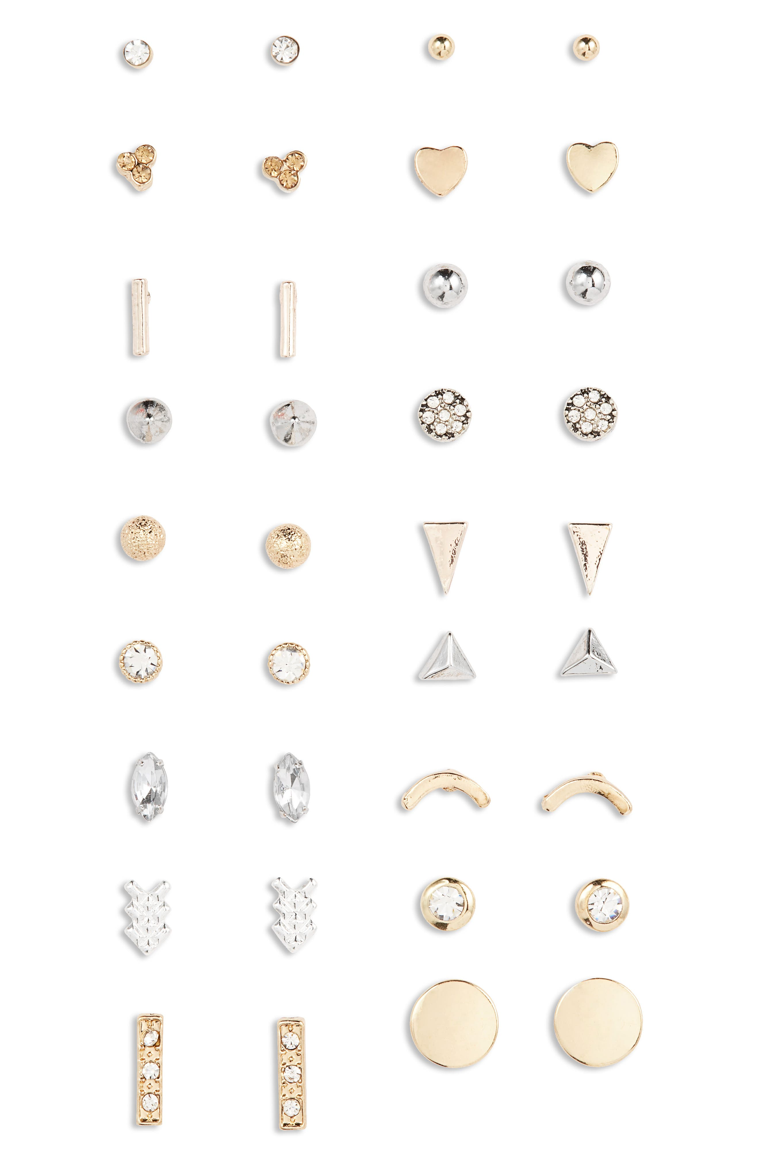 Assorted 18-Pack Crystal Stud Earrings,                             Main thumbnail 1, color,                             Gold/ Crystal