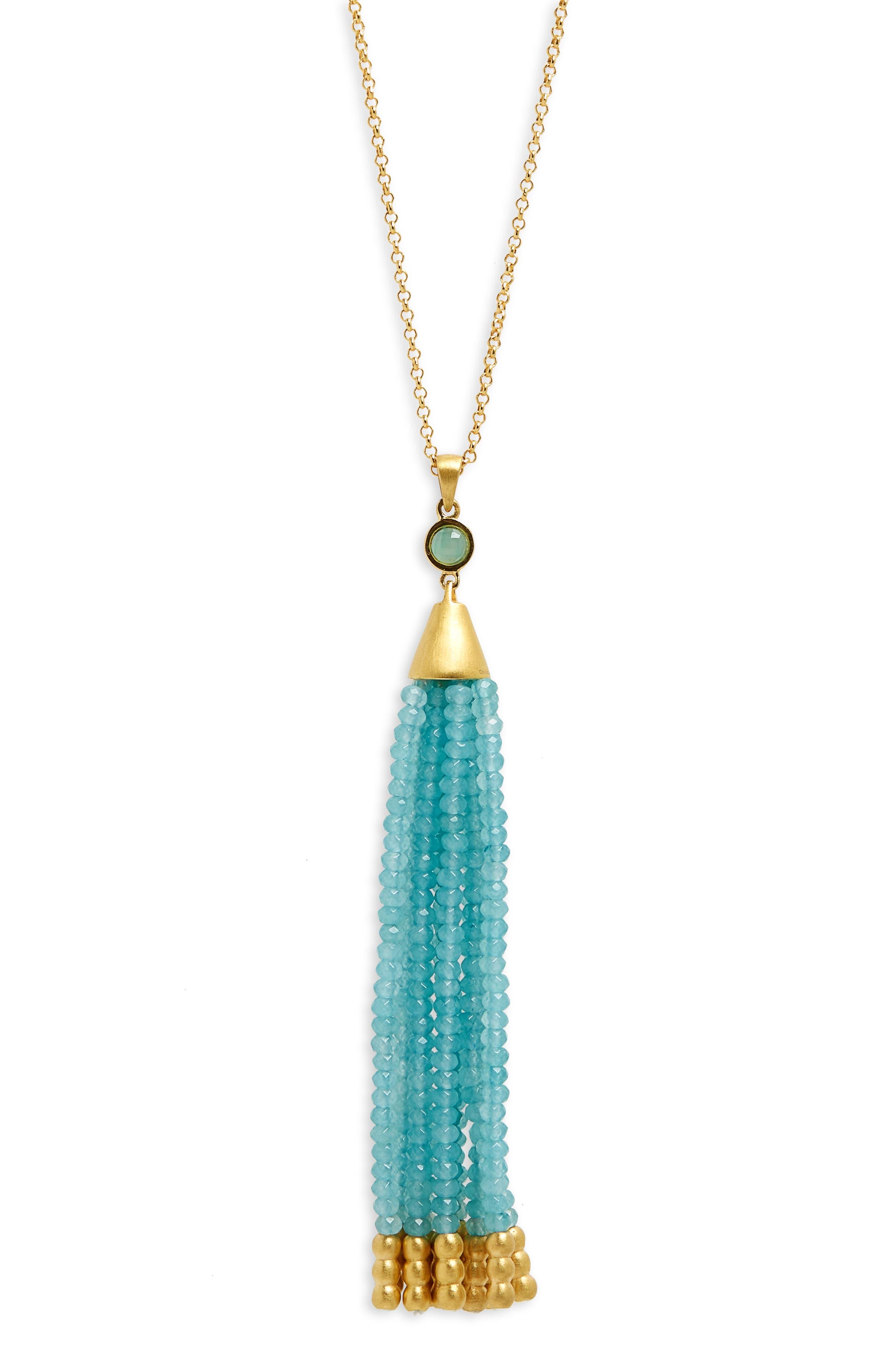 Samba Tassel Pendant Necklace,                             Alternate thumbnail 2, color,                             Ocean Blue Chalcedony/ Gold
