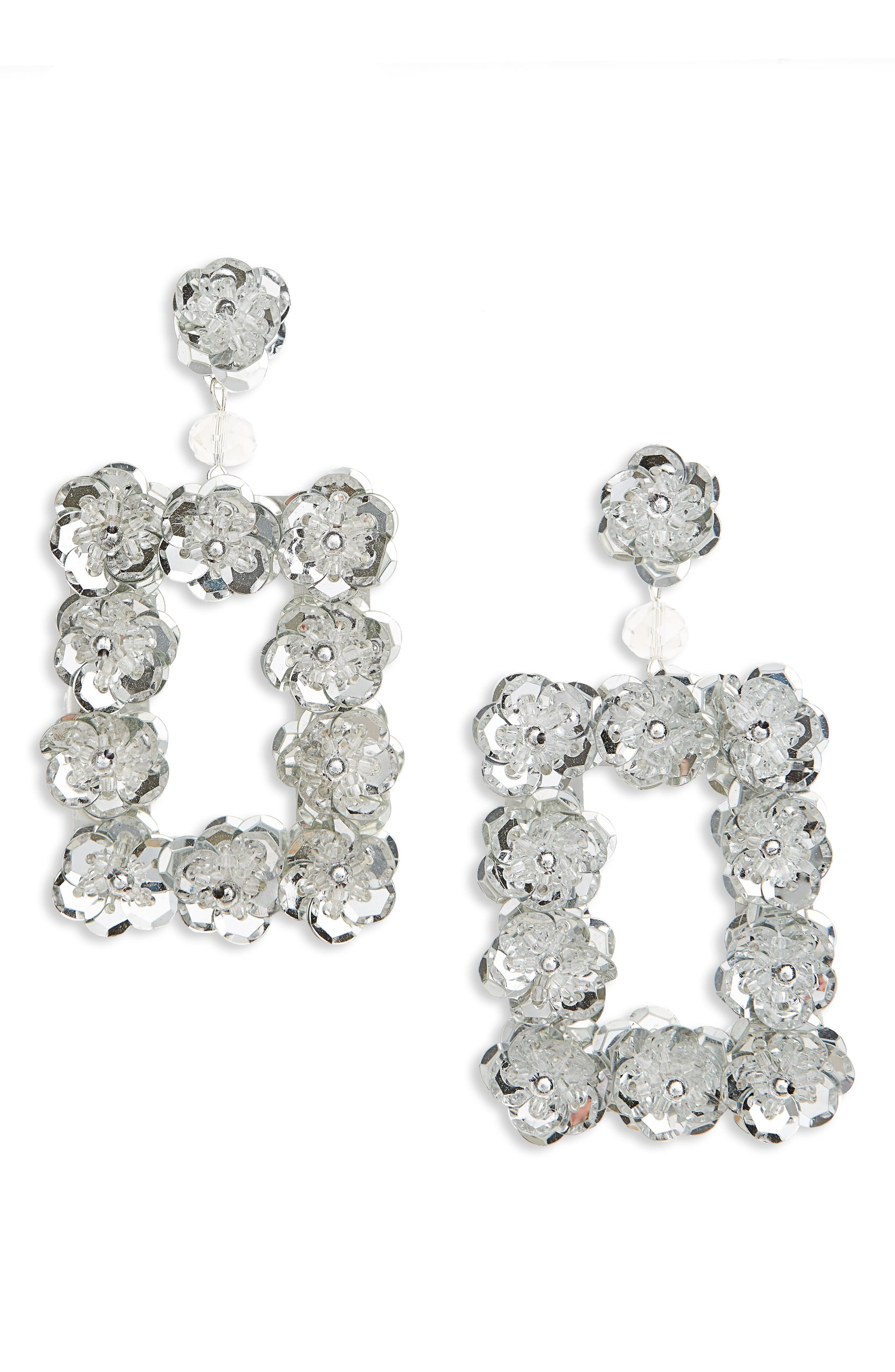 Opulent Floral Square Earrings,                         Main,                         color, Silver/ Crystal