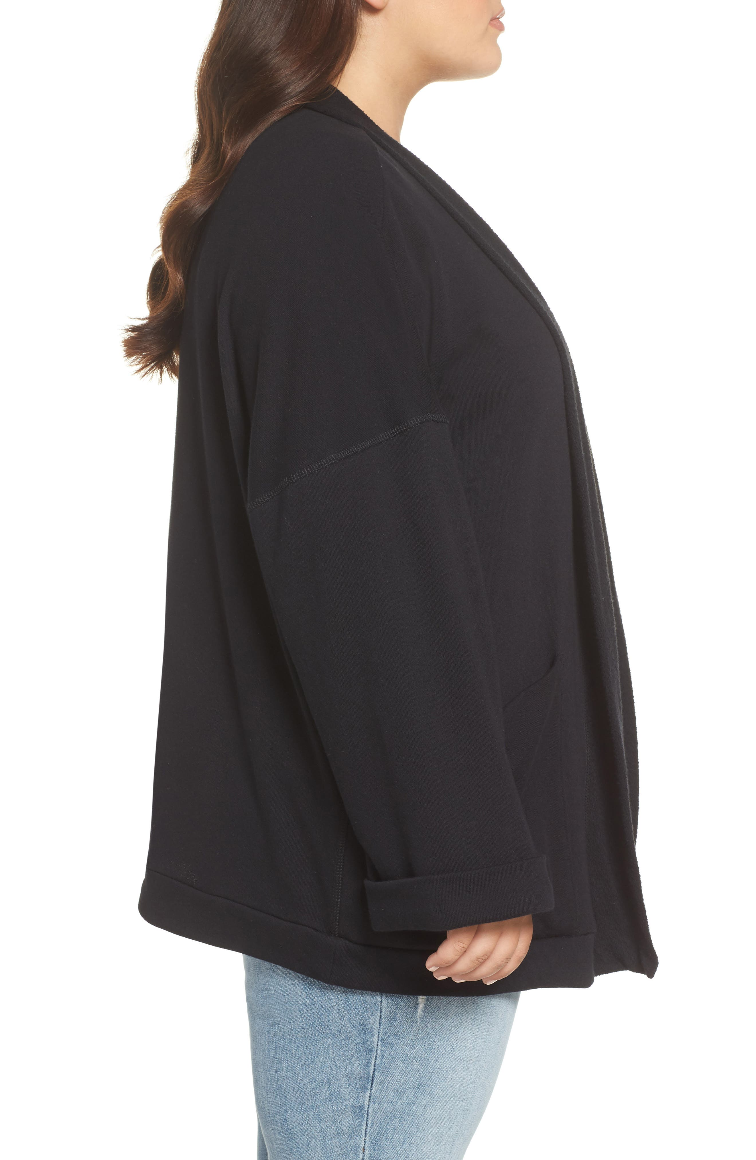 Knit Roll Sleeve Blazer,                             Alternate thumbnail 4, color,                             Black
