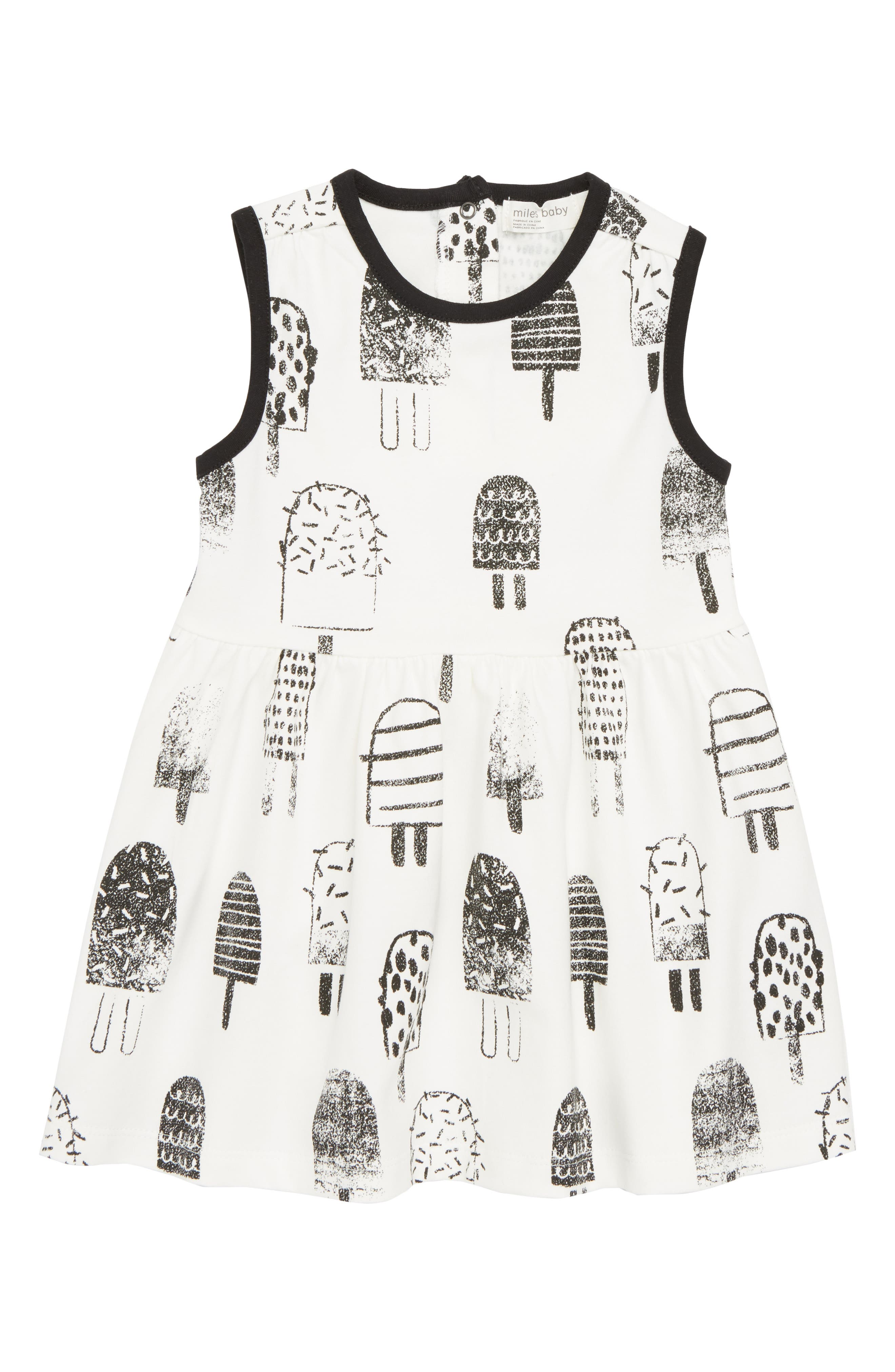 Printed Knit Dress,                         Main,                         color, Off White
