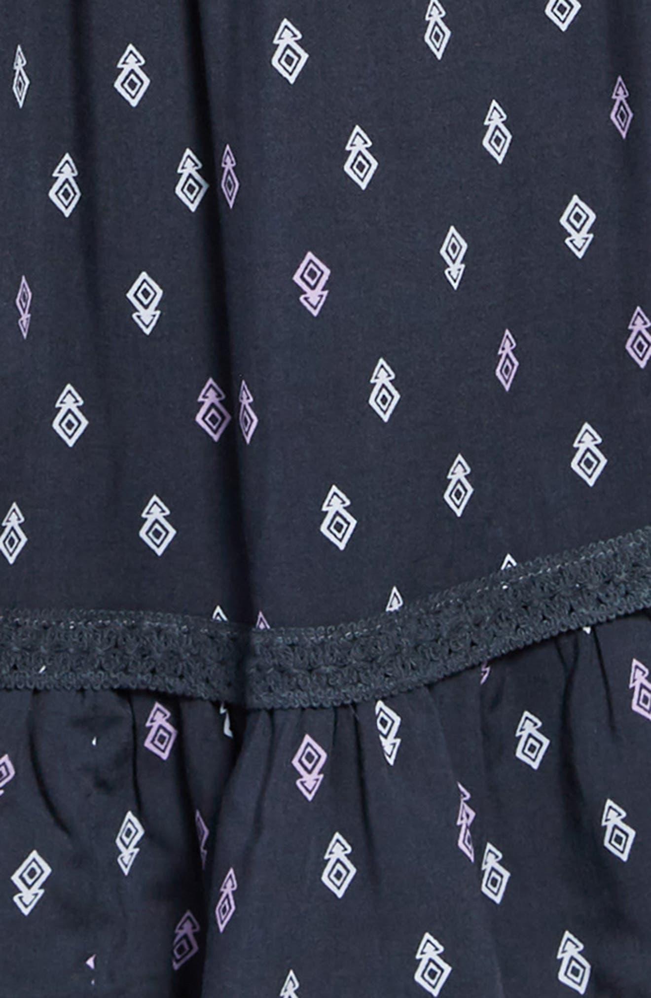 Geo Print Cold Shoulder Dress,                             Alternate thumbnail 3, color,                             Navy/ Multi