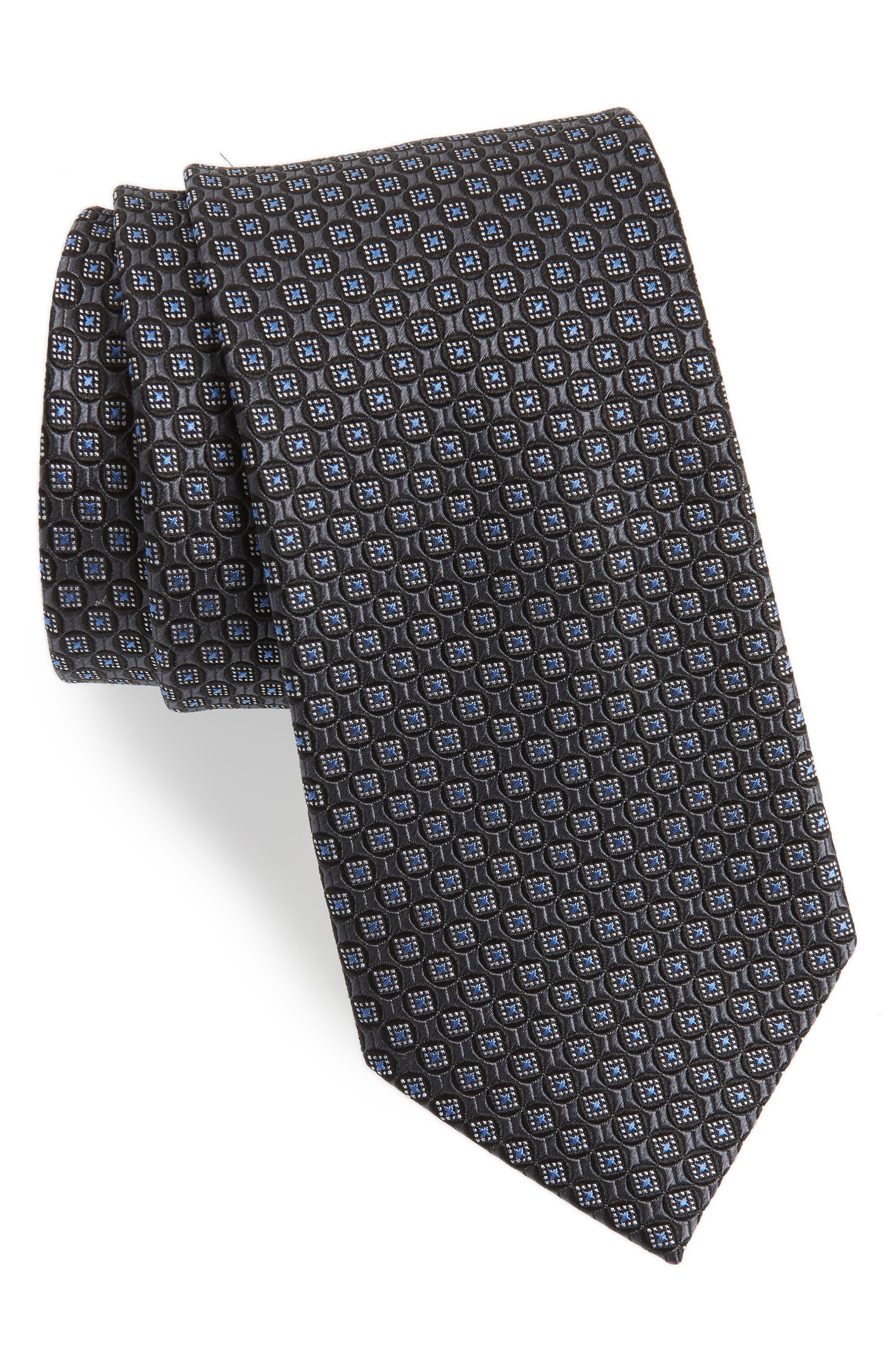 Neat Silk Tie,                             Main thumbnail 1, color,                             Black