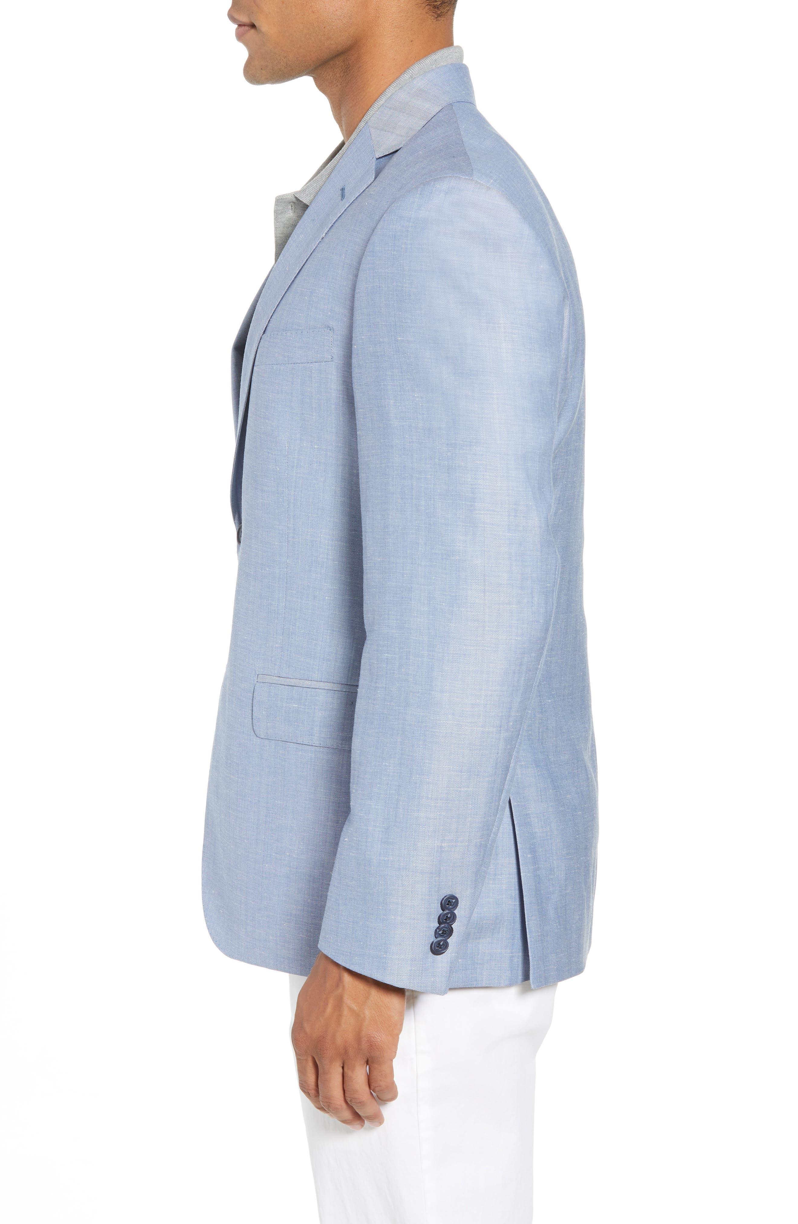 Traditional Fit Herringbone Wool & Linen Sport Coat,                             Alternate thumbnail 5, color,                             Blue