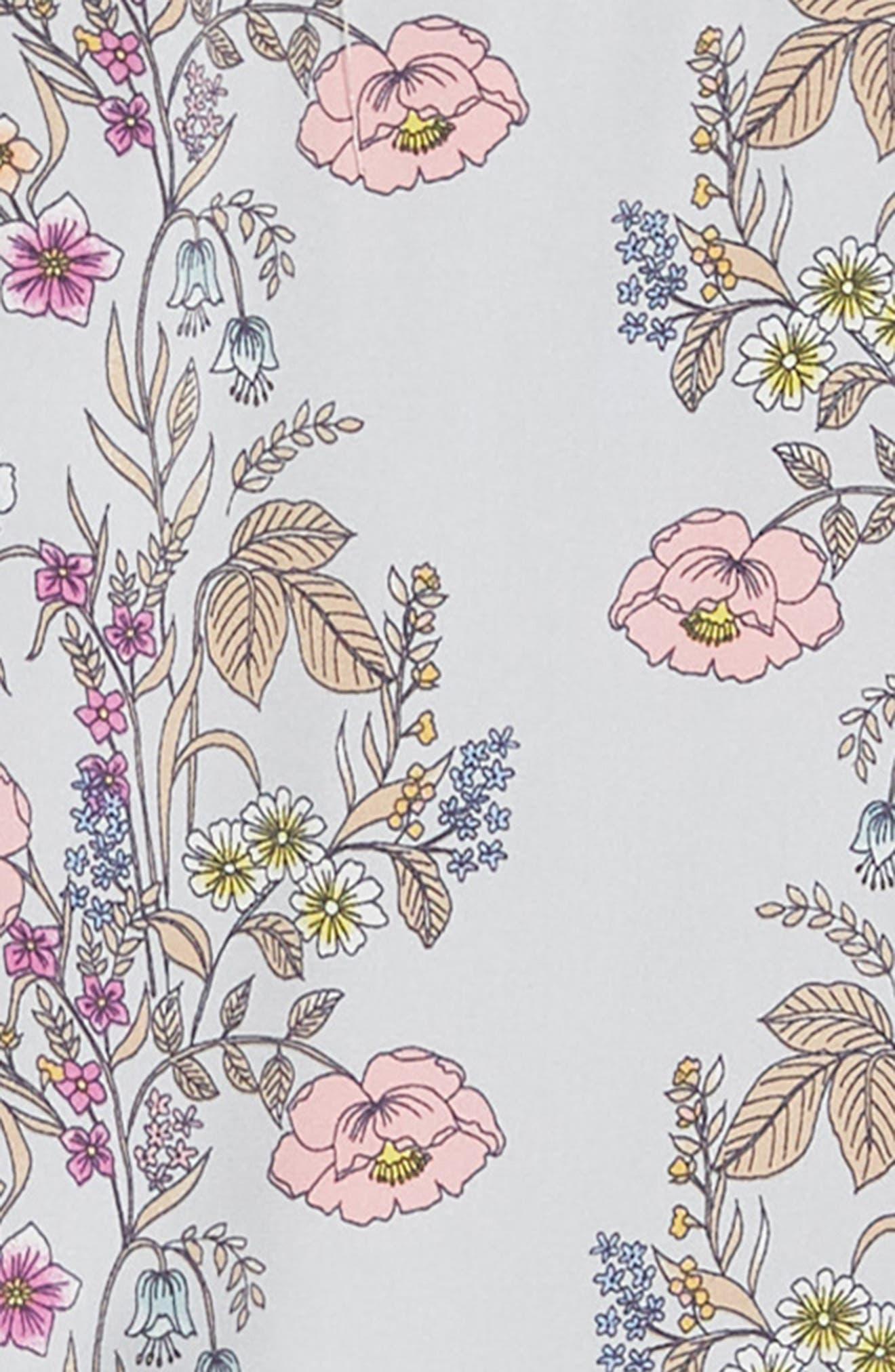 Floral Handkerchief Hem Dress,                             Alternate thumbnail 3, color,                             Grey Multi