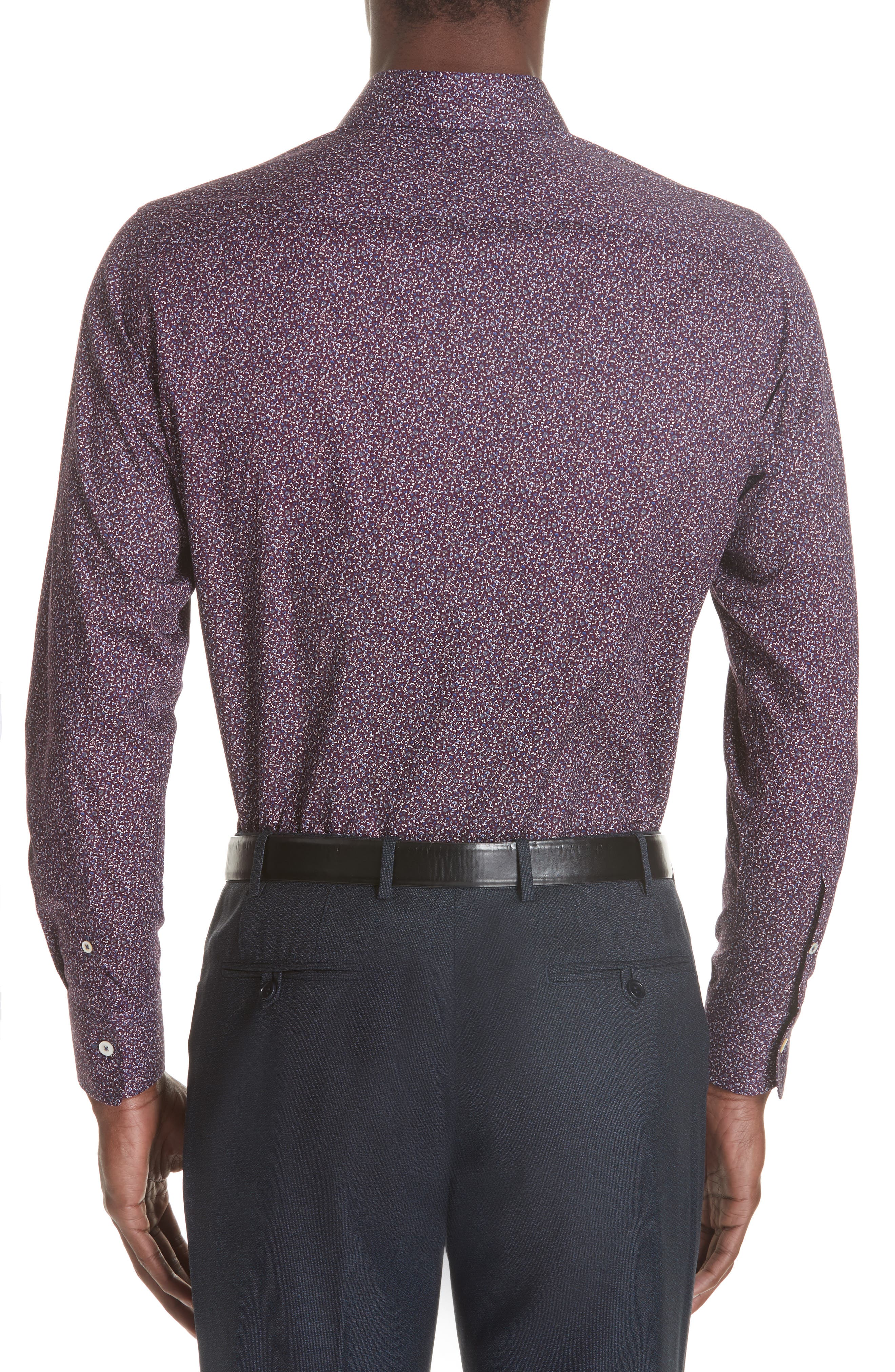 Classic Fit Floral Dress Shirt,                             Alternate thumbnail 3, color,                             Dark Red