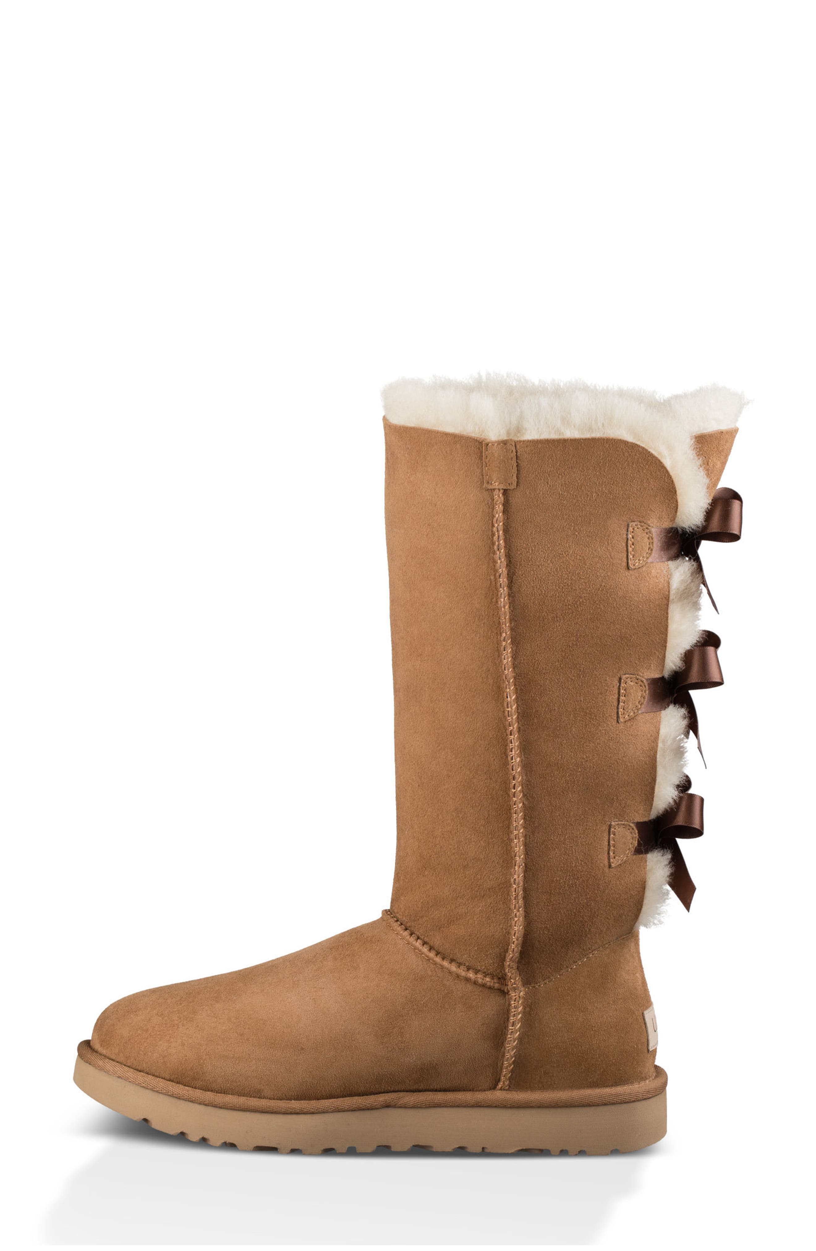 Bailey Bow Tall II Boot,                             Alternate thumbnail 2, color,                             Chestnut Suede