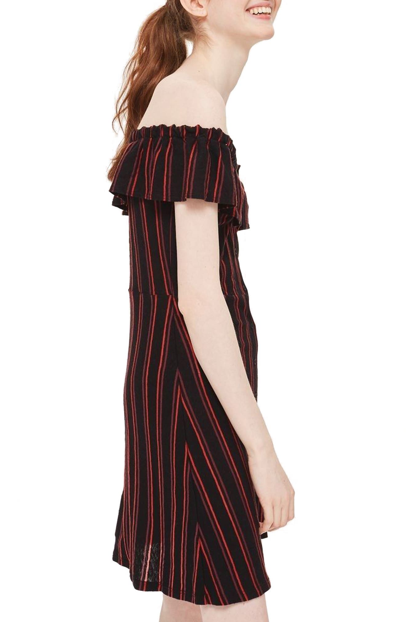 Stripe Frill Bardot Dress,                             Alternate thumbnail 2, color,                             Black Multi