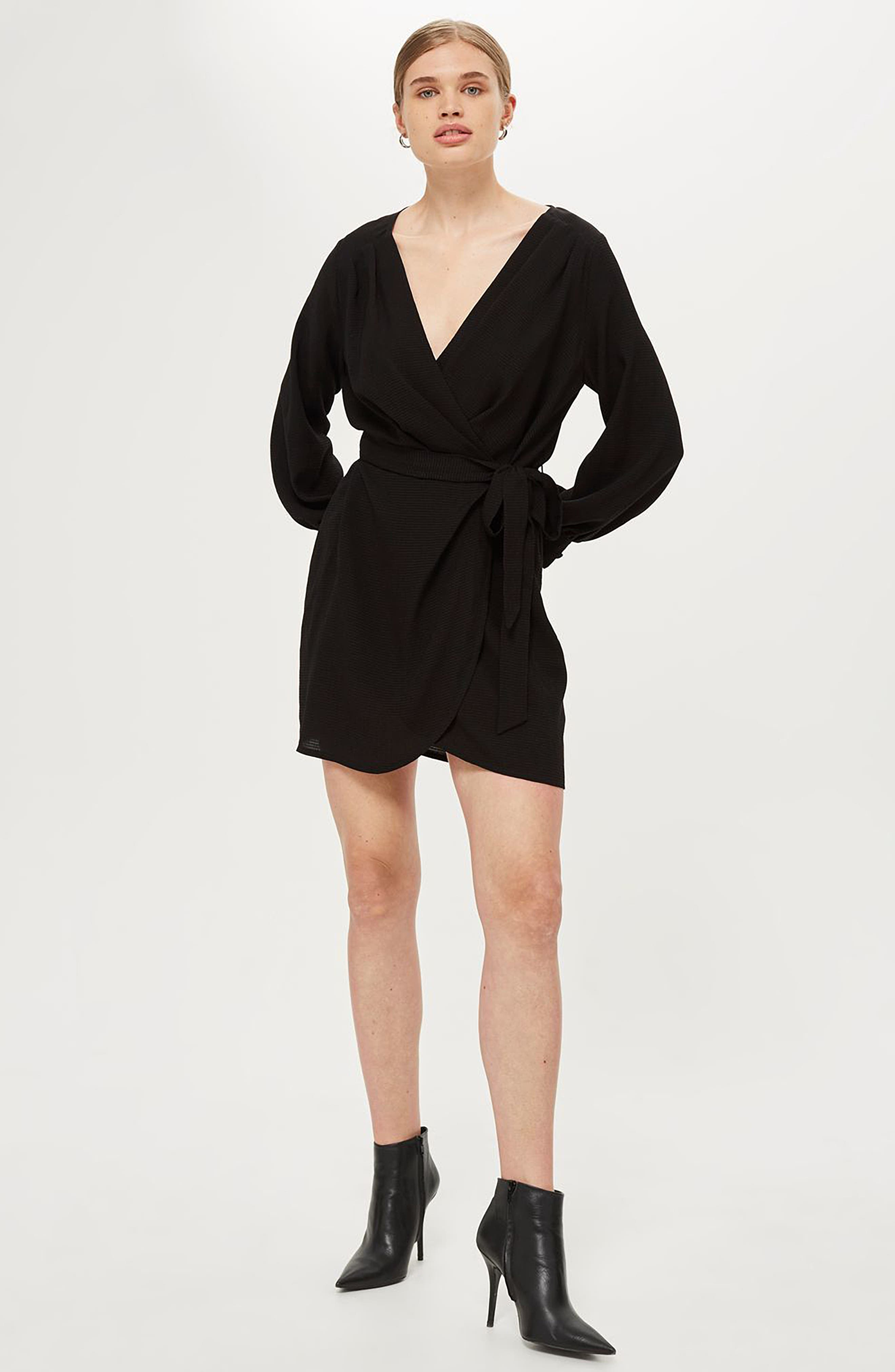 Bubble Satin Wrap Dress,                             Alternate thumbnail 2, color,                             Black