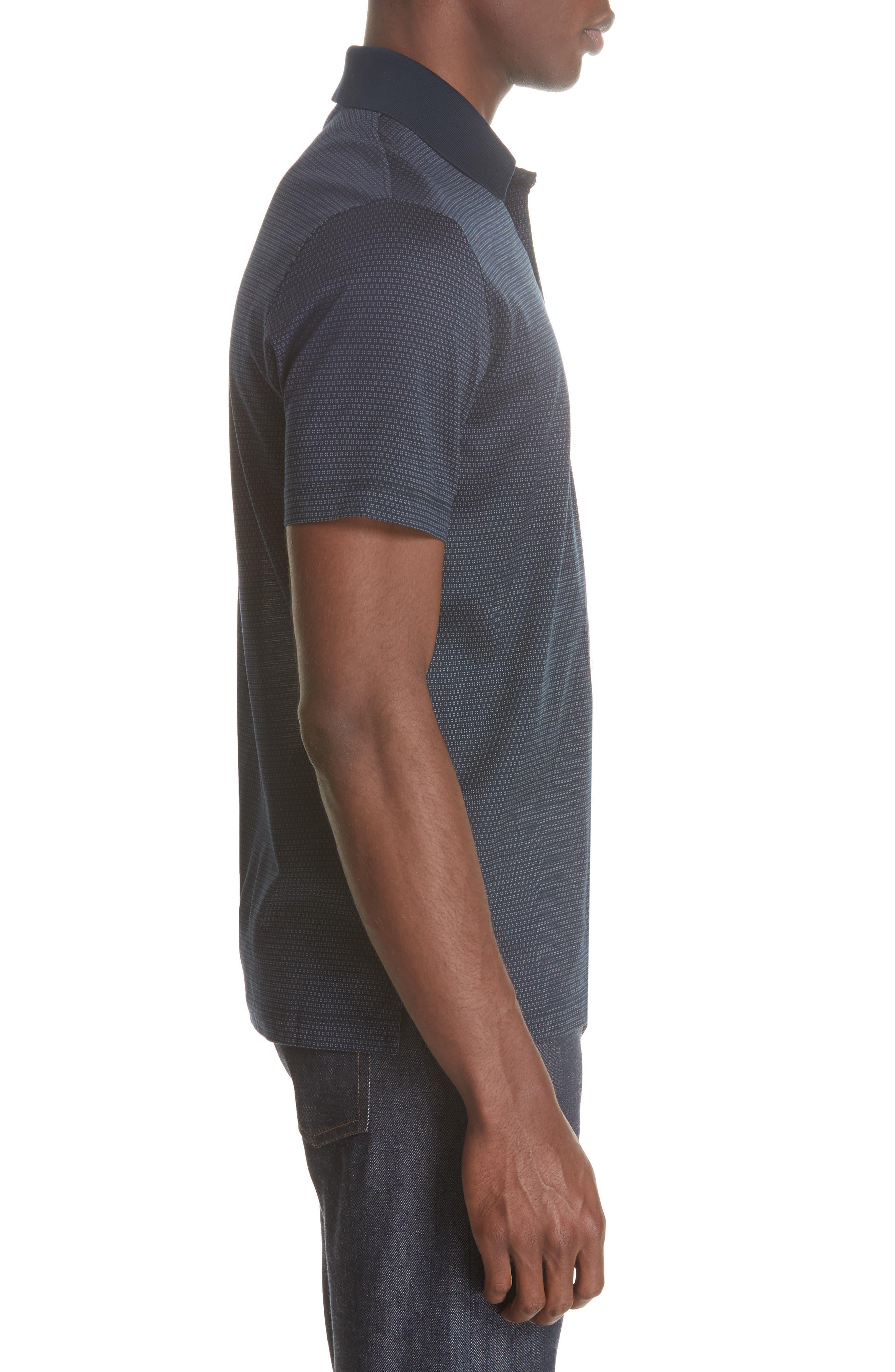 Geometric Cotton Polo Shirt,                             Alternate thumbnail 4, color,                             Navy