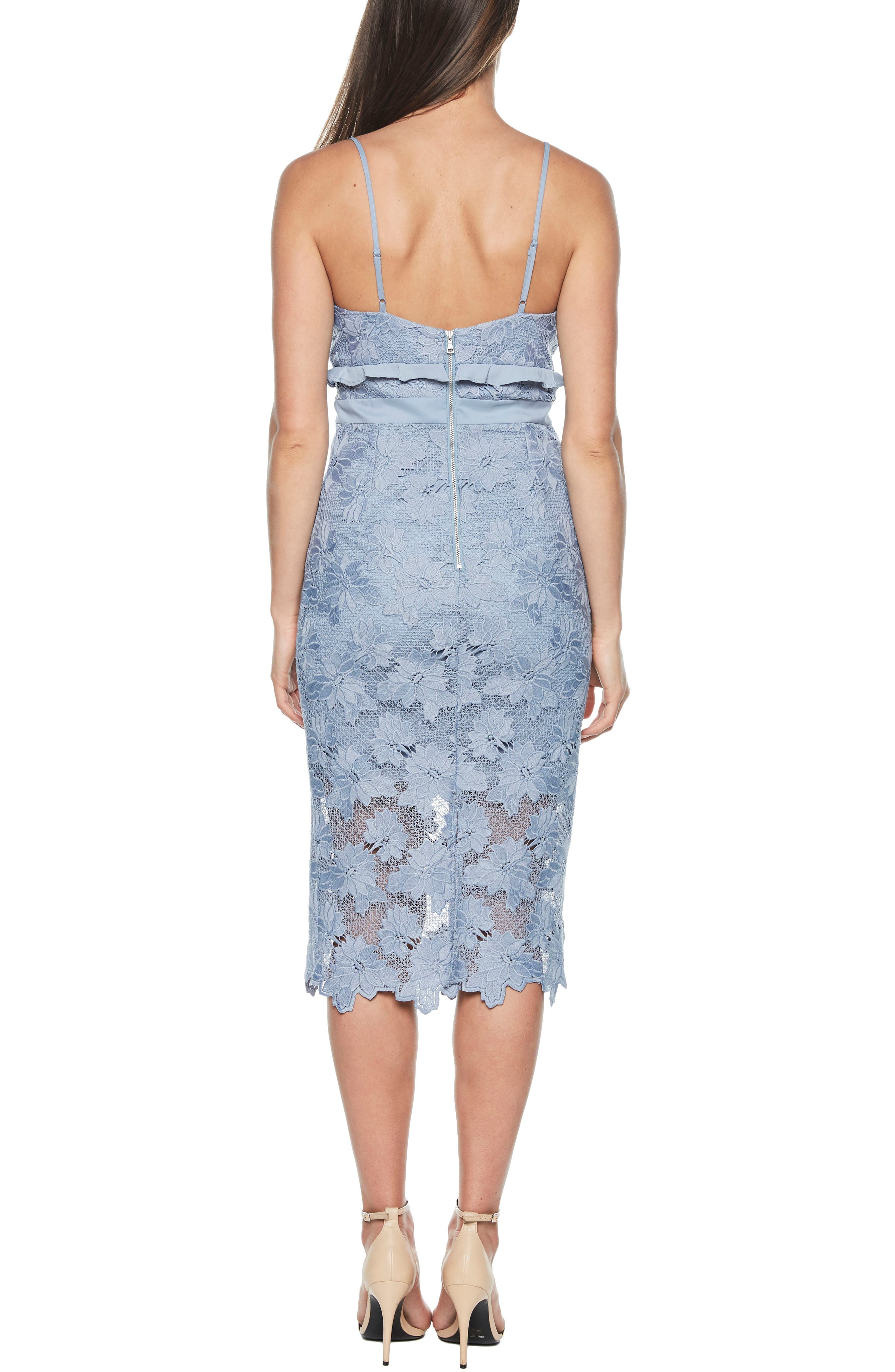 Vienna Lace Overlay Dress,                             Alternate thumbnail 2, color,                             Dusty Blue