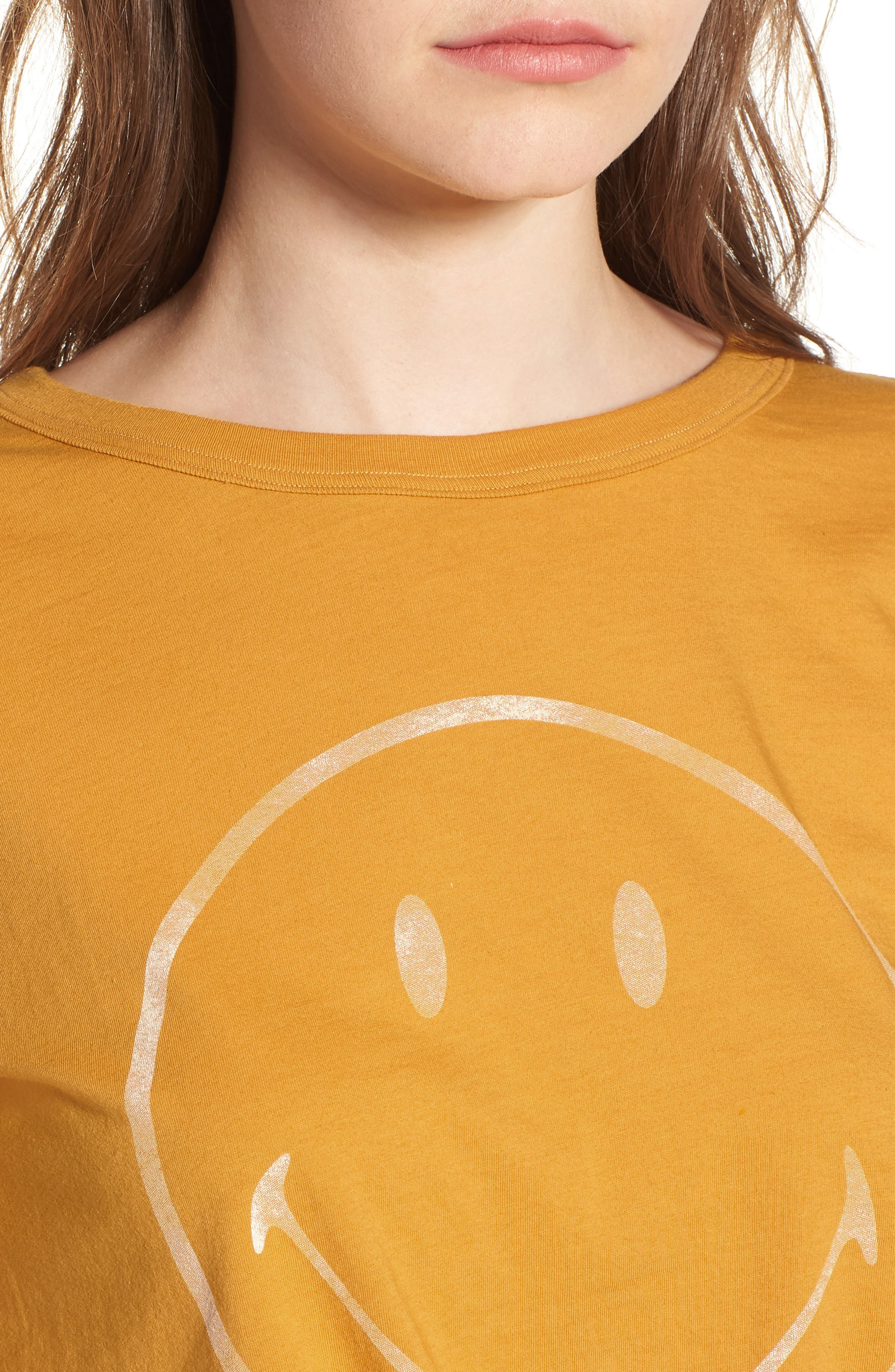 Smiley Tie Hem Boxy Tee,                             Alternate thumbnail 4, color,                             Golden