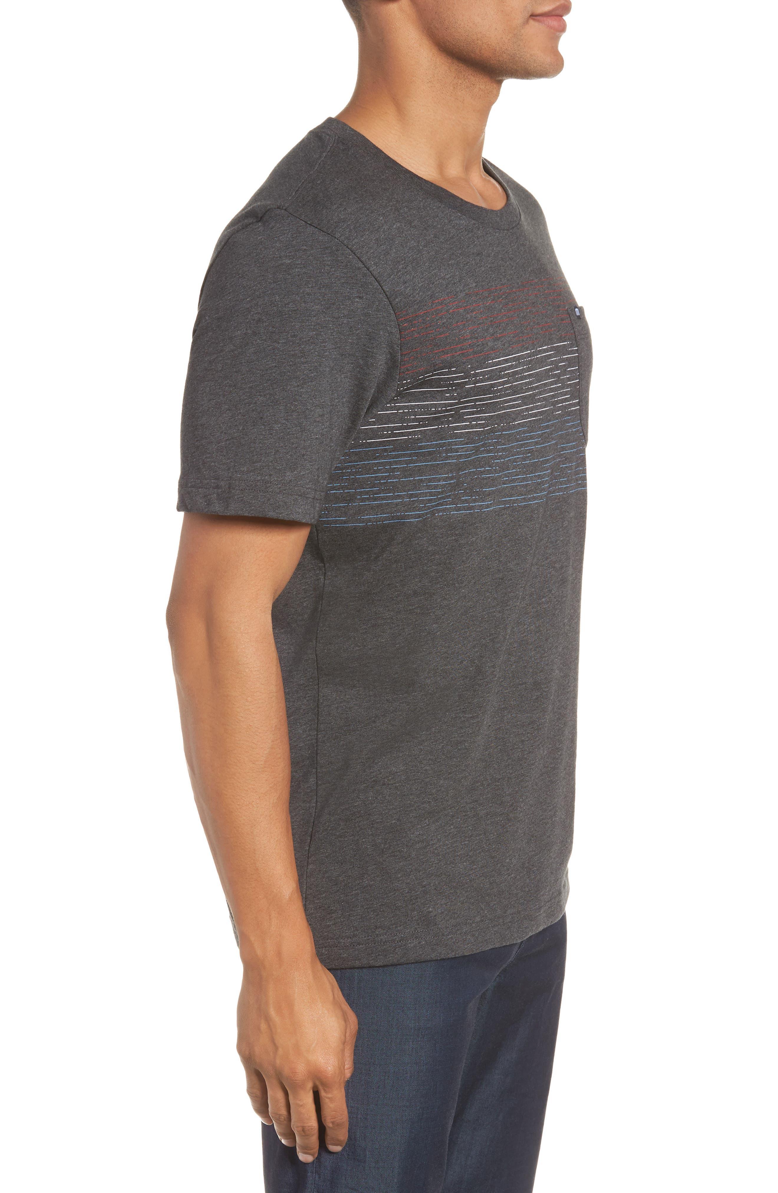 Flogging Print Pocket T-Shirt,                             Alternate thumbnail 5, color,                             Heather Grey Pinstripe