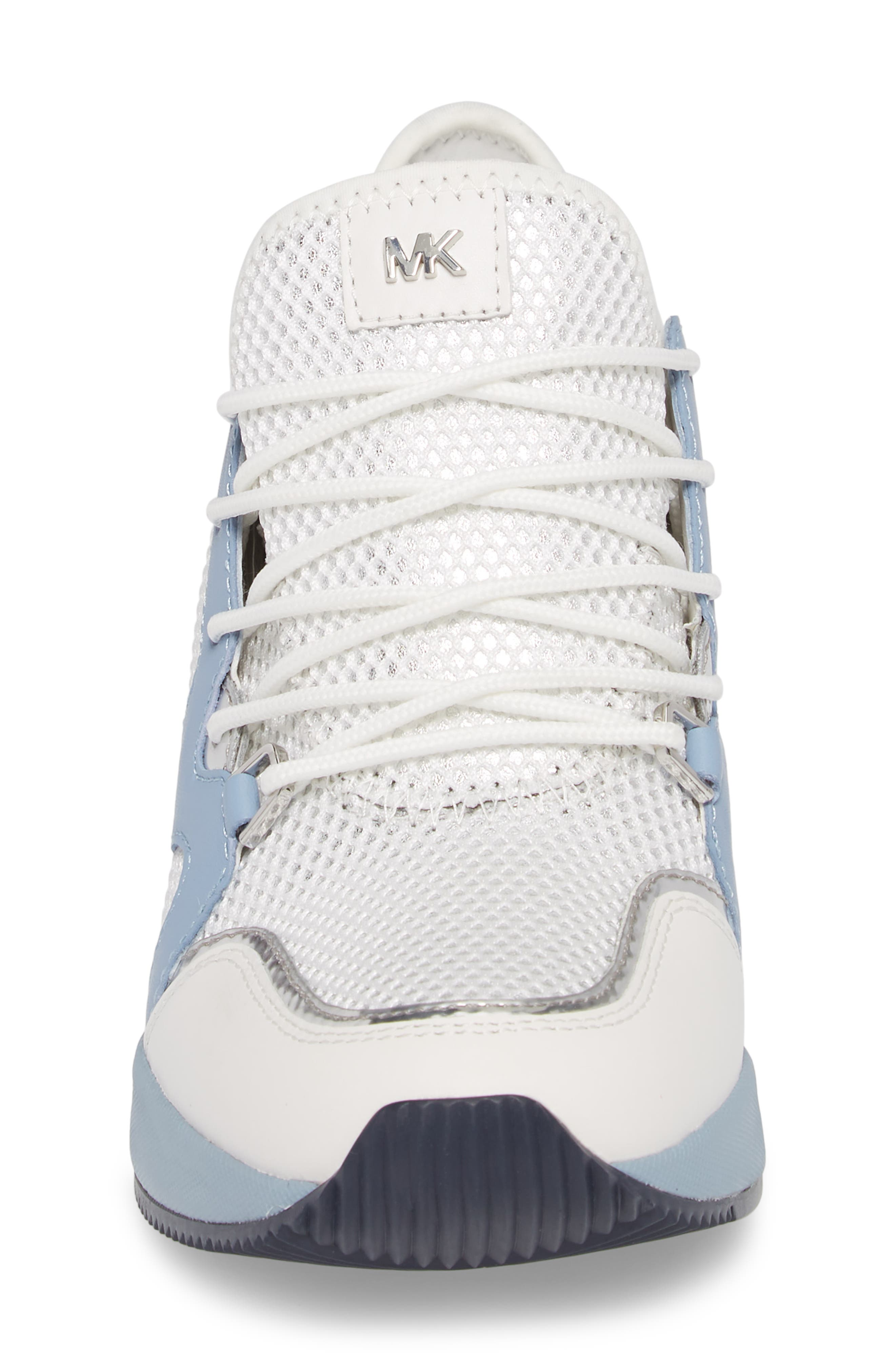 Scout Wedge Sneaker,                             Alternate thumbnail 4, color,                             Optic White/Blue