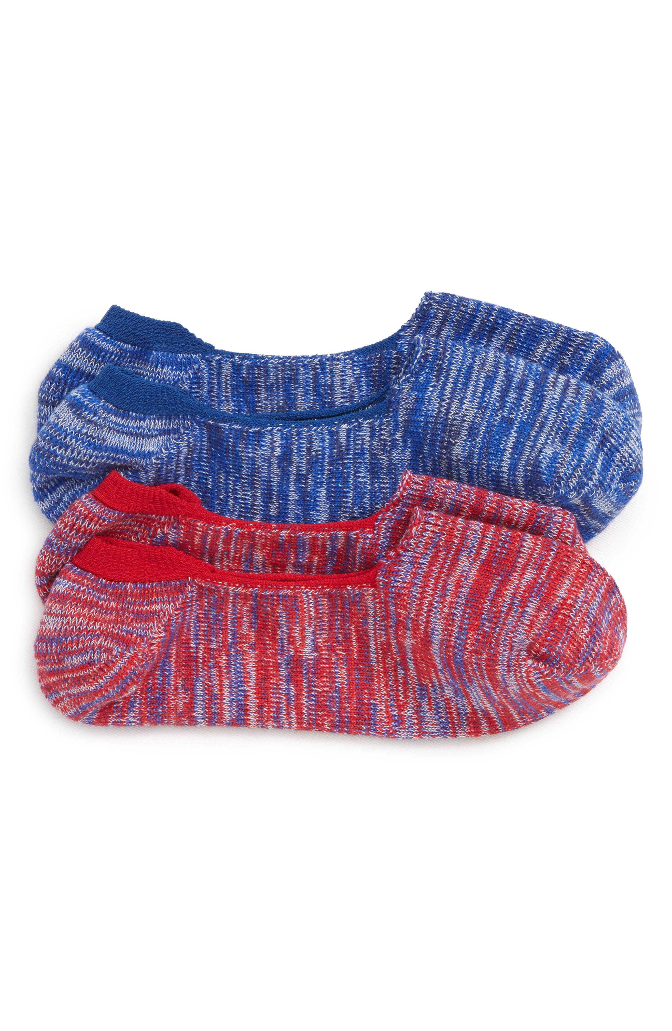 2-Pack Marl Loafer Liner Socks,                         Main,                         color, Red Marl/ Navy Marl