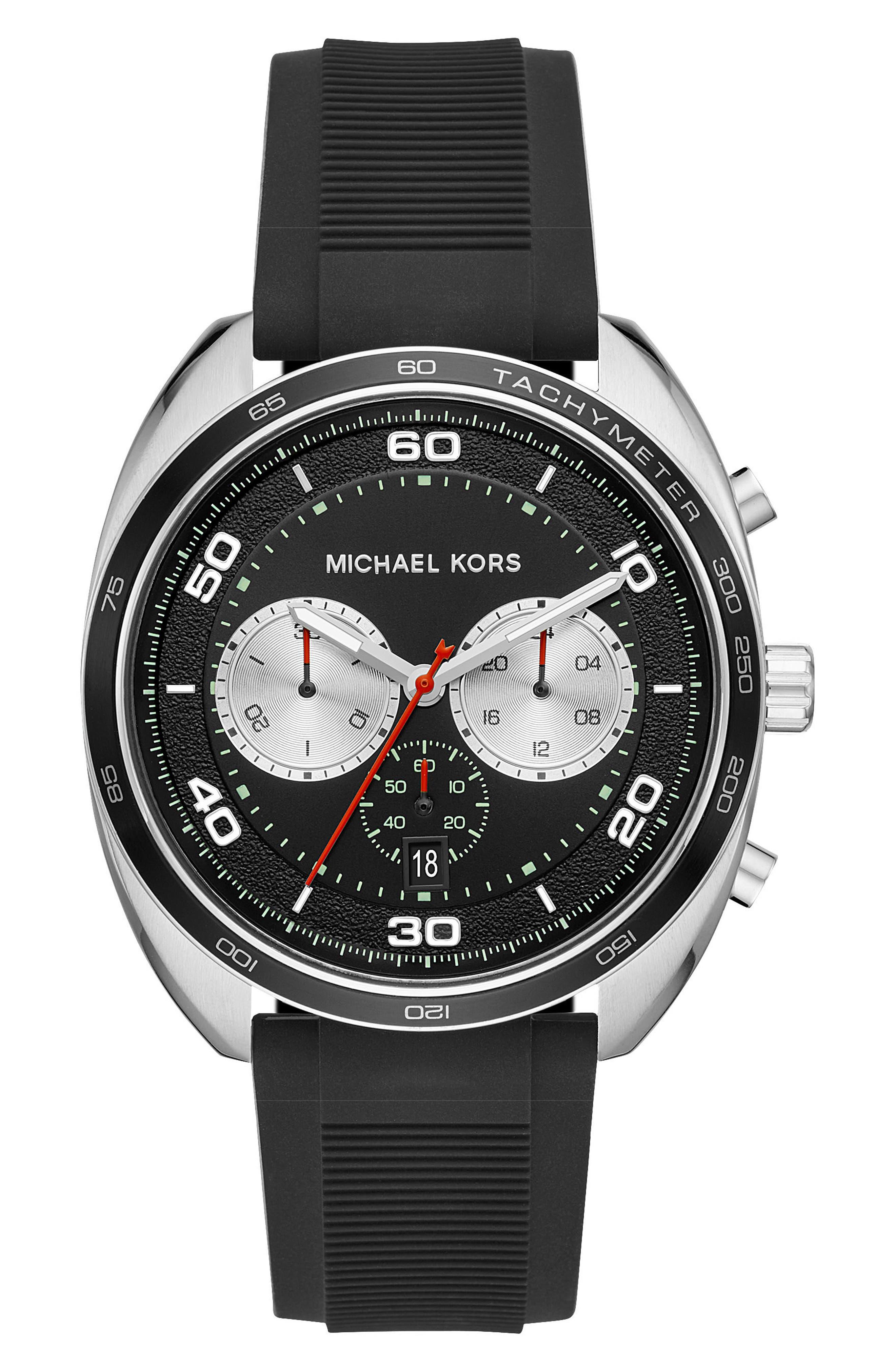 Dane Silicone Strap Watch, 43mm,                             Main thumbnail 1, color,                             Black/ Silver