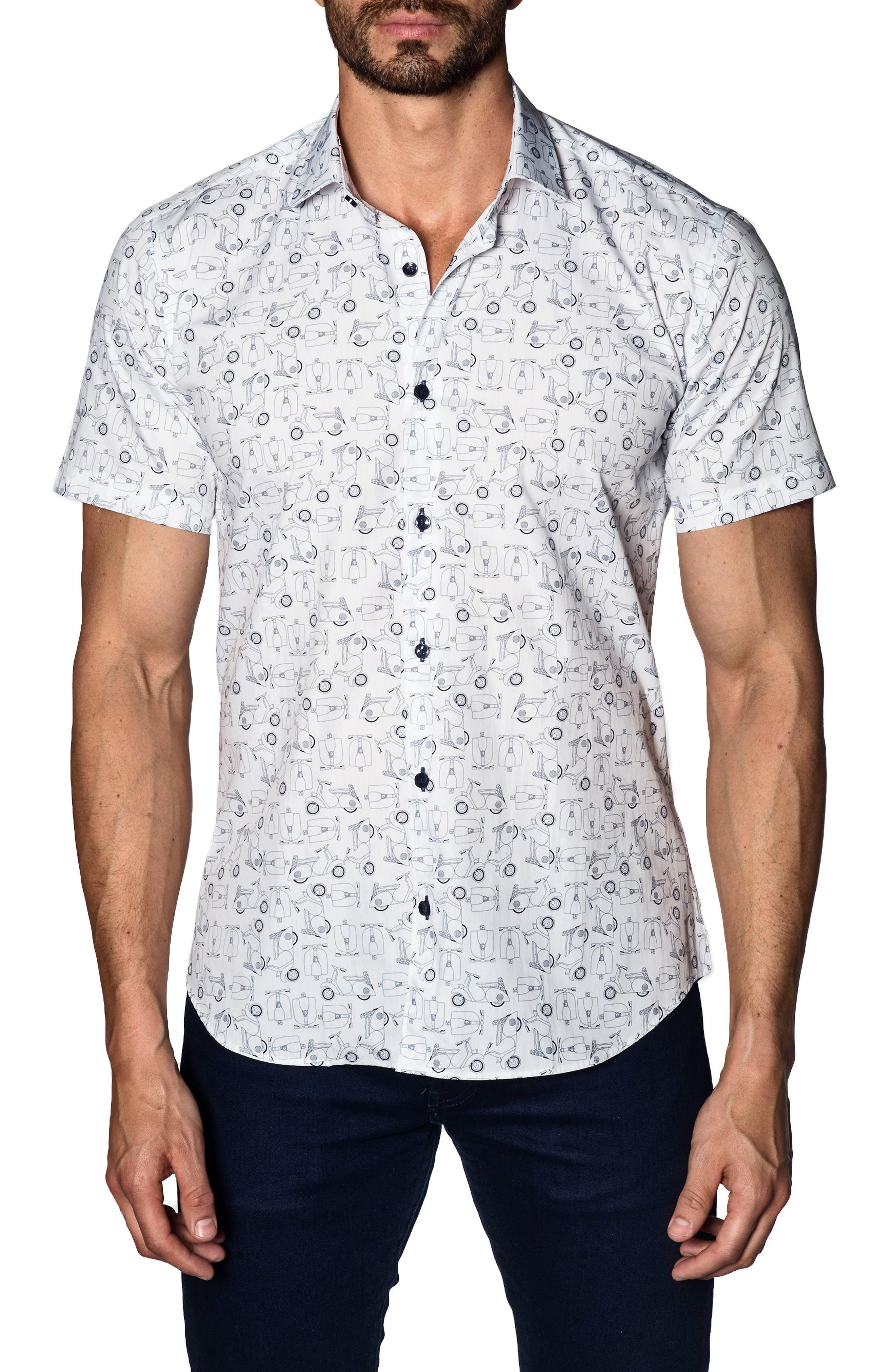 Trim Fit Sport Shirt,                         Main,                         color, White Scooters