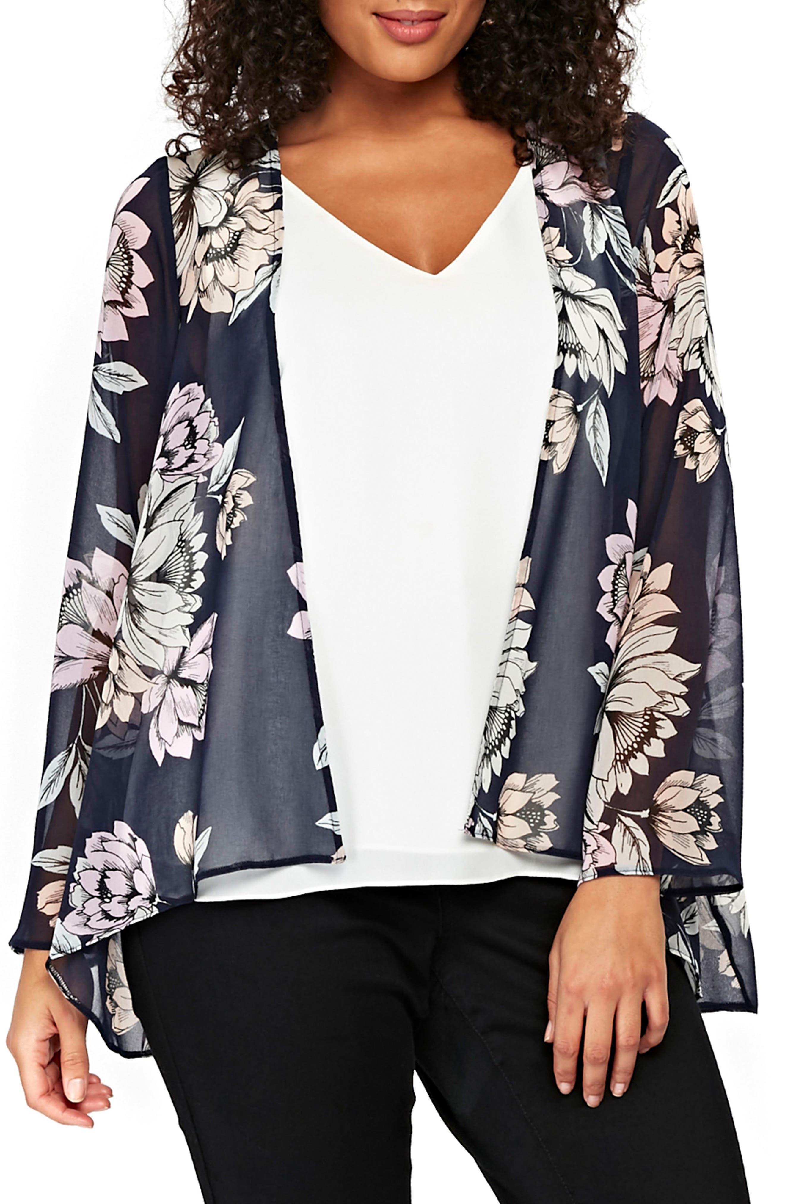 Floral Kimono Jacket,                             Main thumbnail 1, color,                             Navy