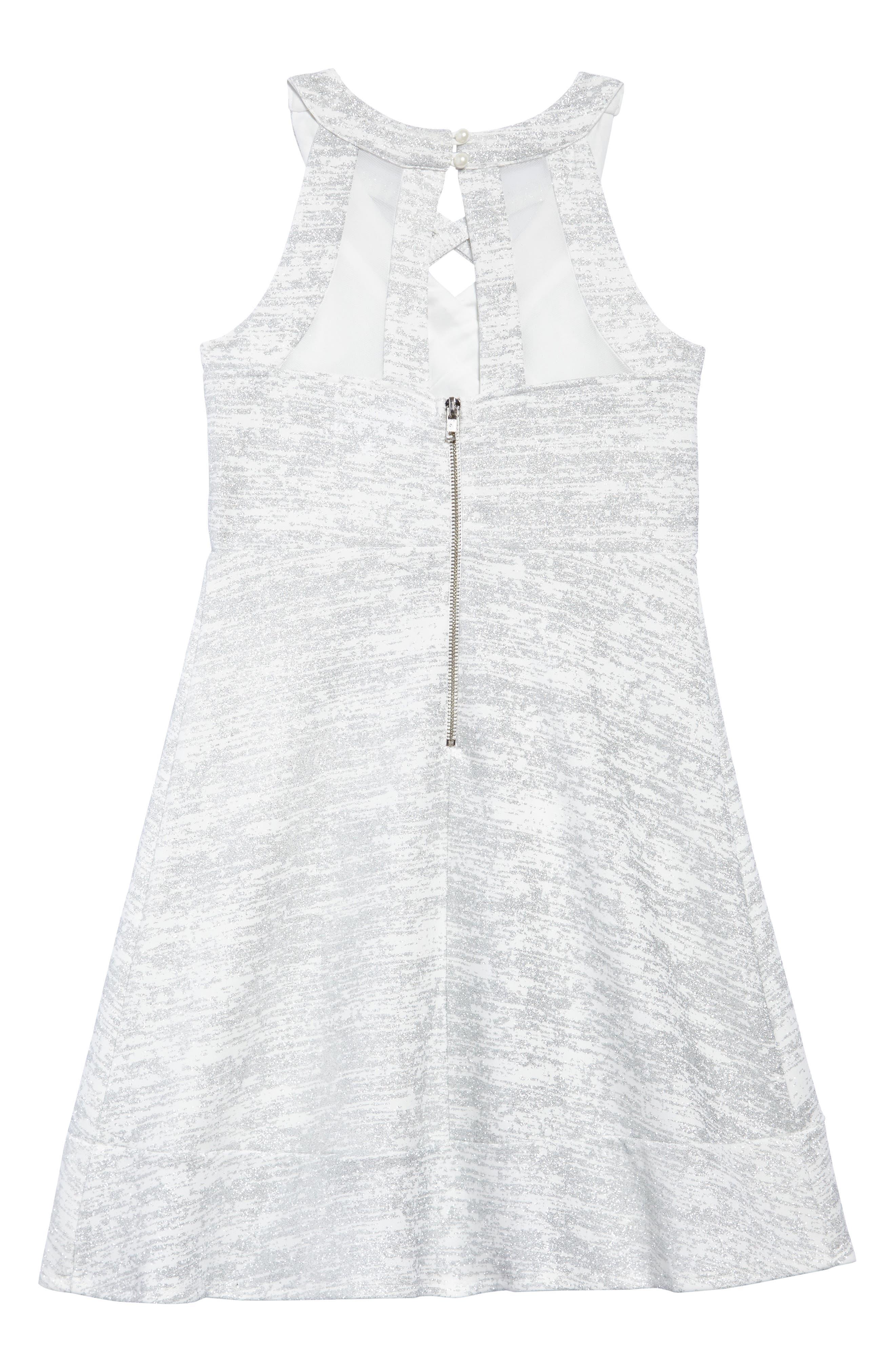 Glitter Scuba Skater Dress,                             Alternate thumbnail 2, color,                             Ivory/ Silver