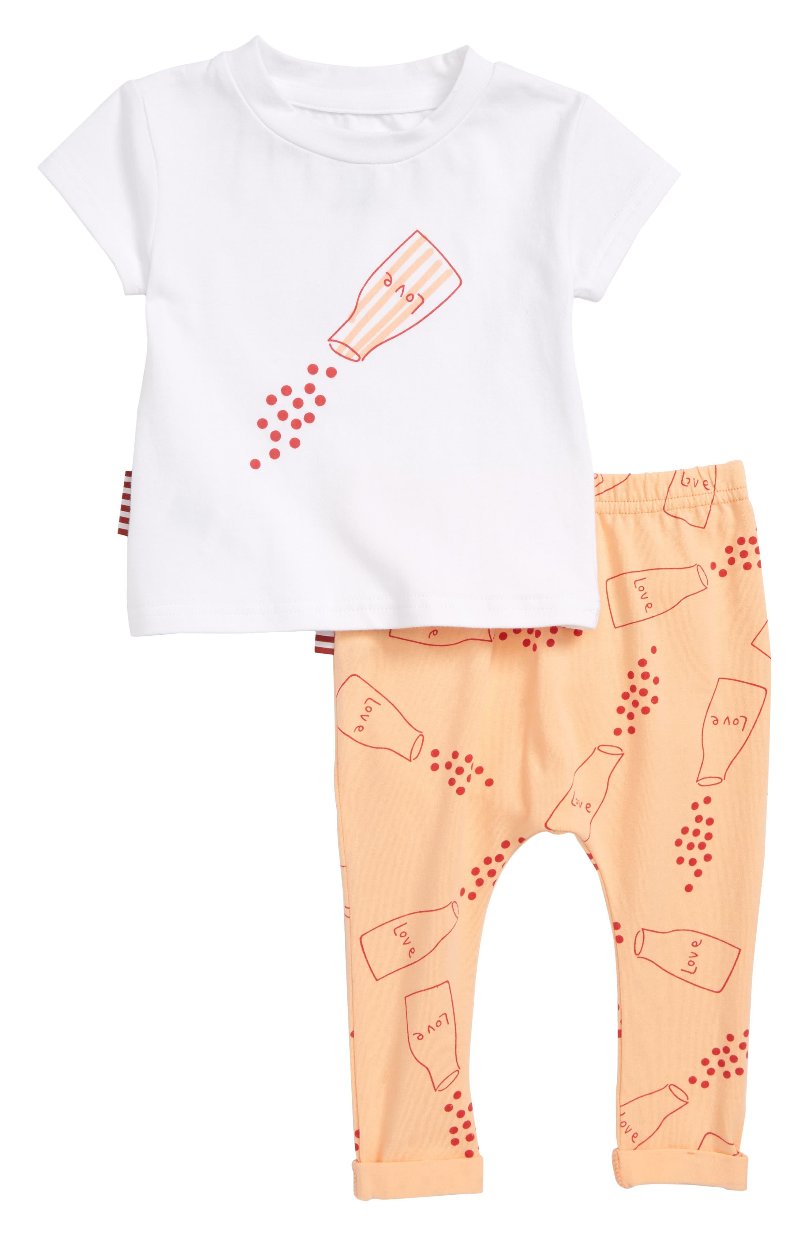 Sprinkle Love Print Tee & Leggings Set,                             Main thumbnail 1, color,                             White/ Peach