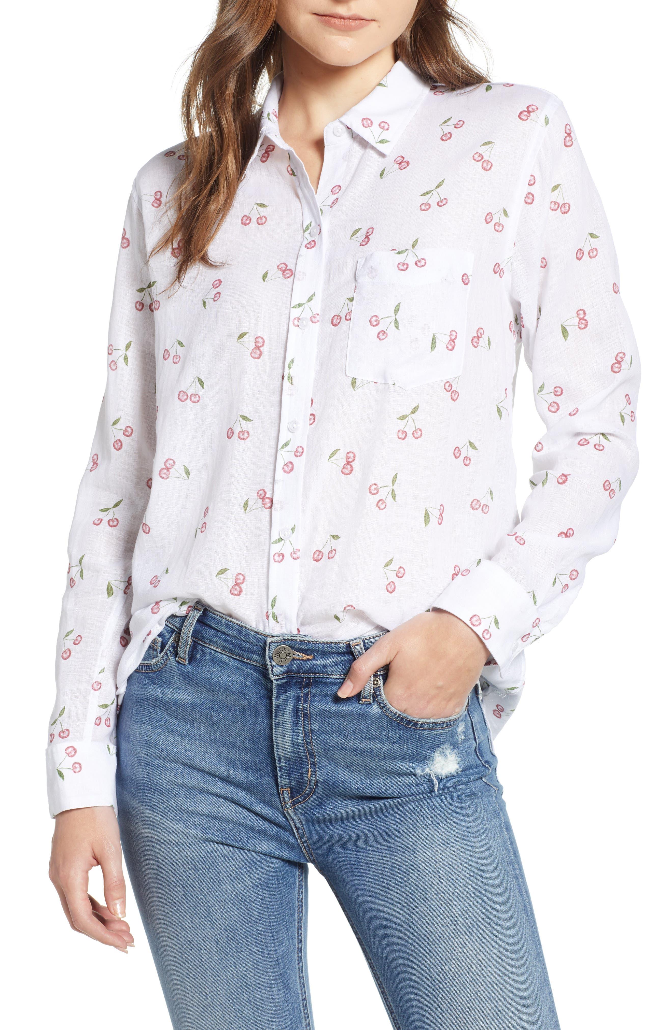 Charli Shirt,                         Main,                         color, White Cherries