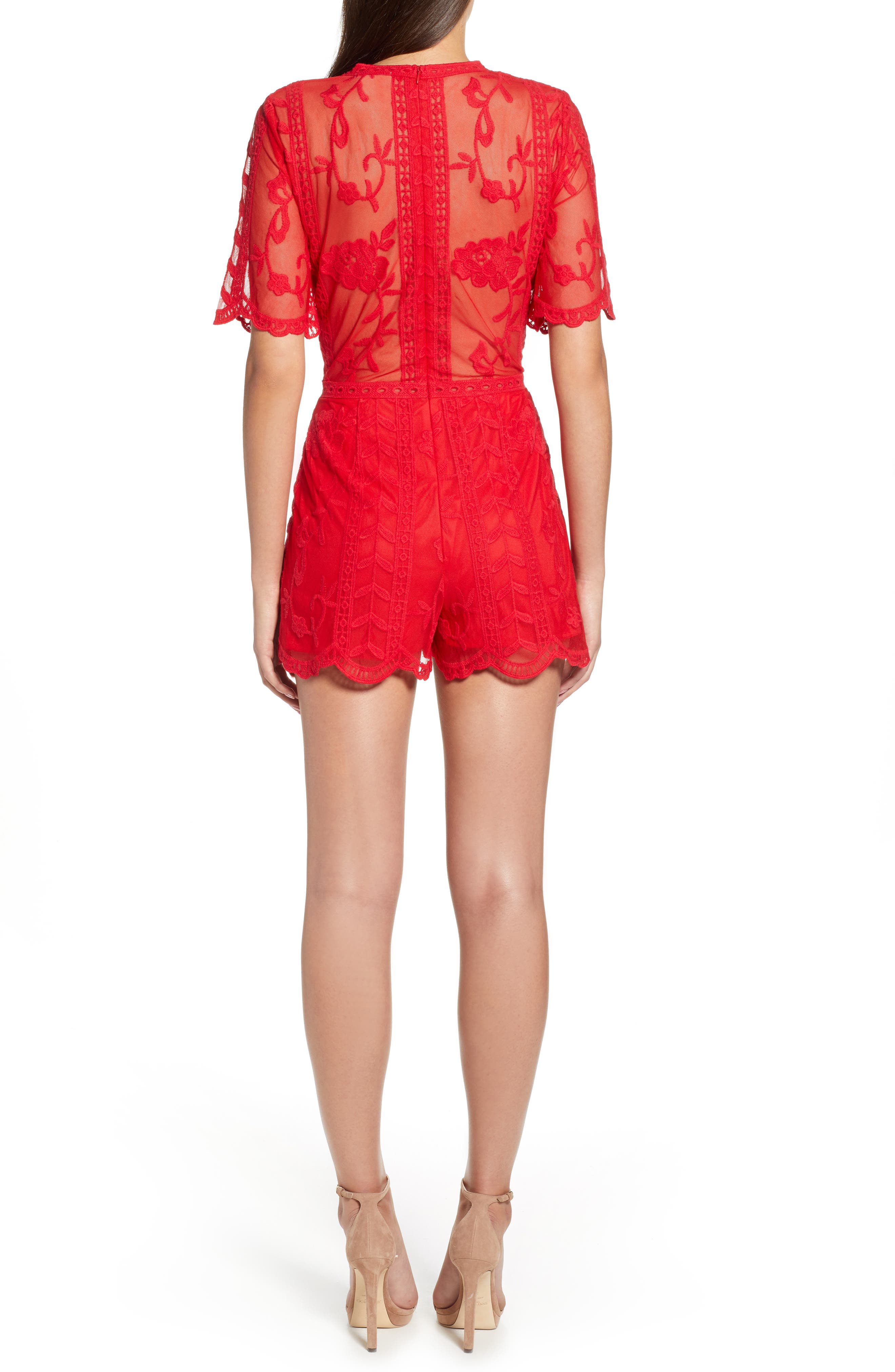 Plunging Lace Romper,                             Alternate thumbnail 2, color,                             Red Lipstick
