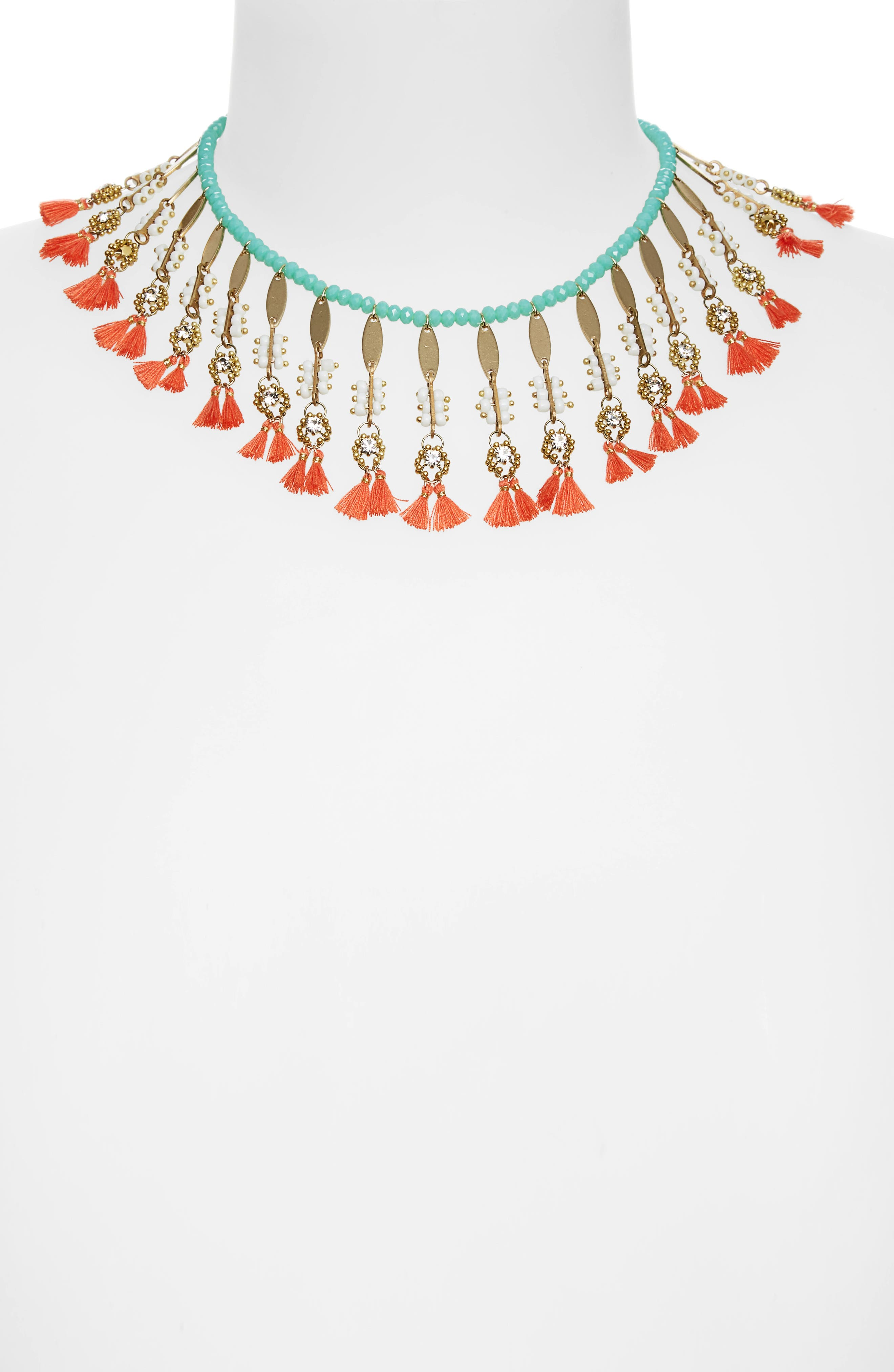 Mixed Media Statement Necklace,                             Alternate thumbnail 2, color,                             Coral