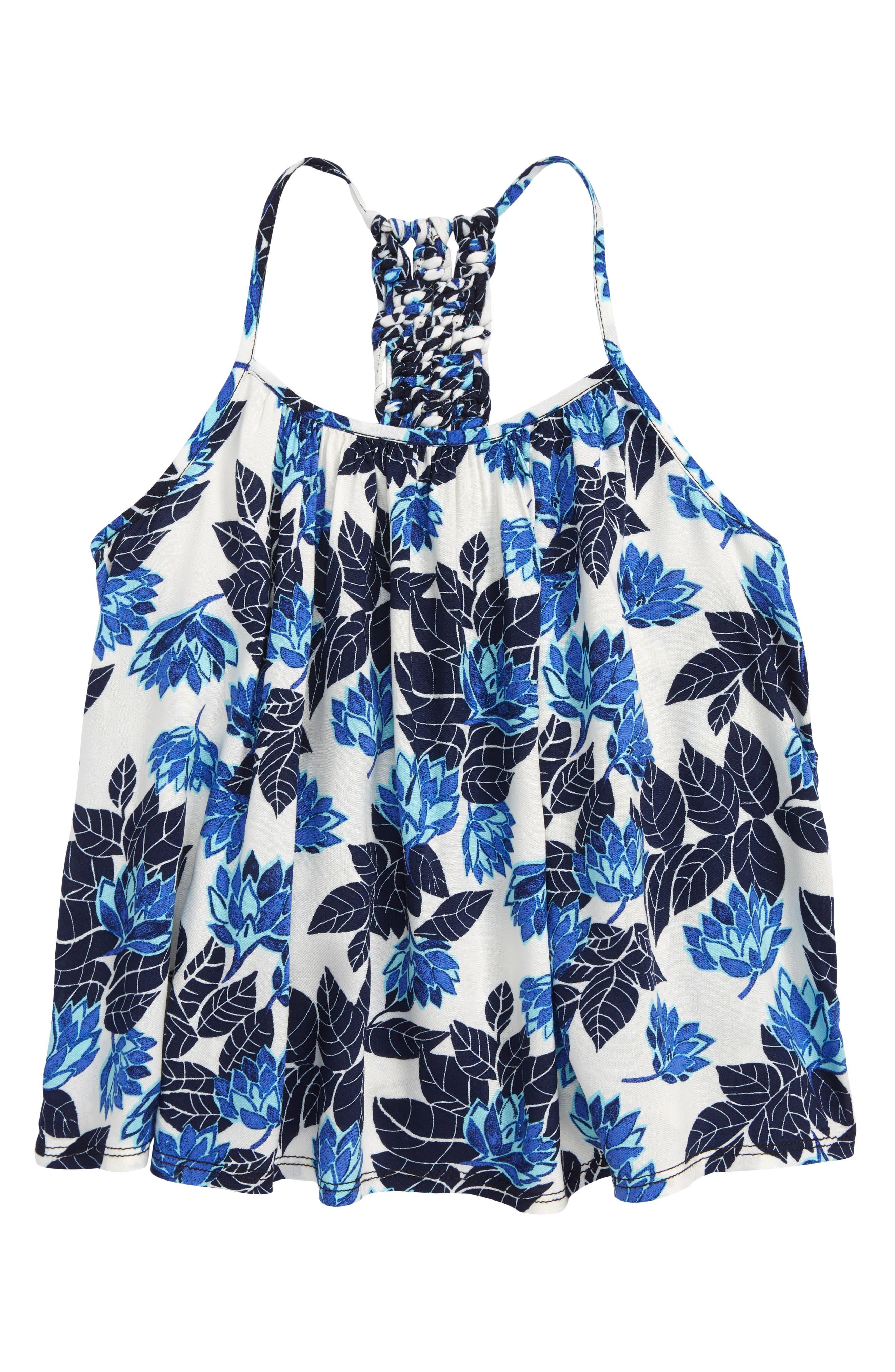 Floral Print Swing Tank,                             Main thumbnail 1, color,                             Ivory Egret- Blue Lotus Flower