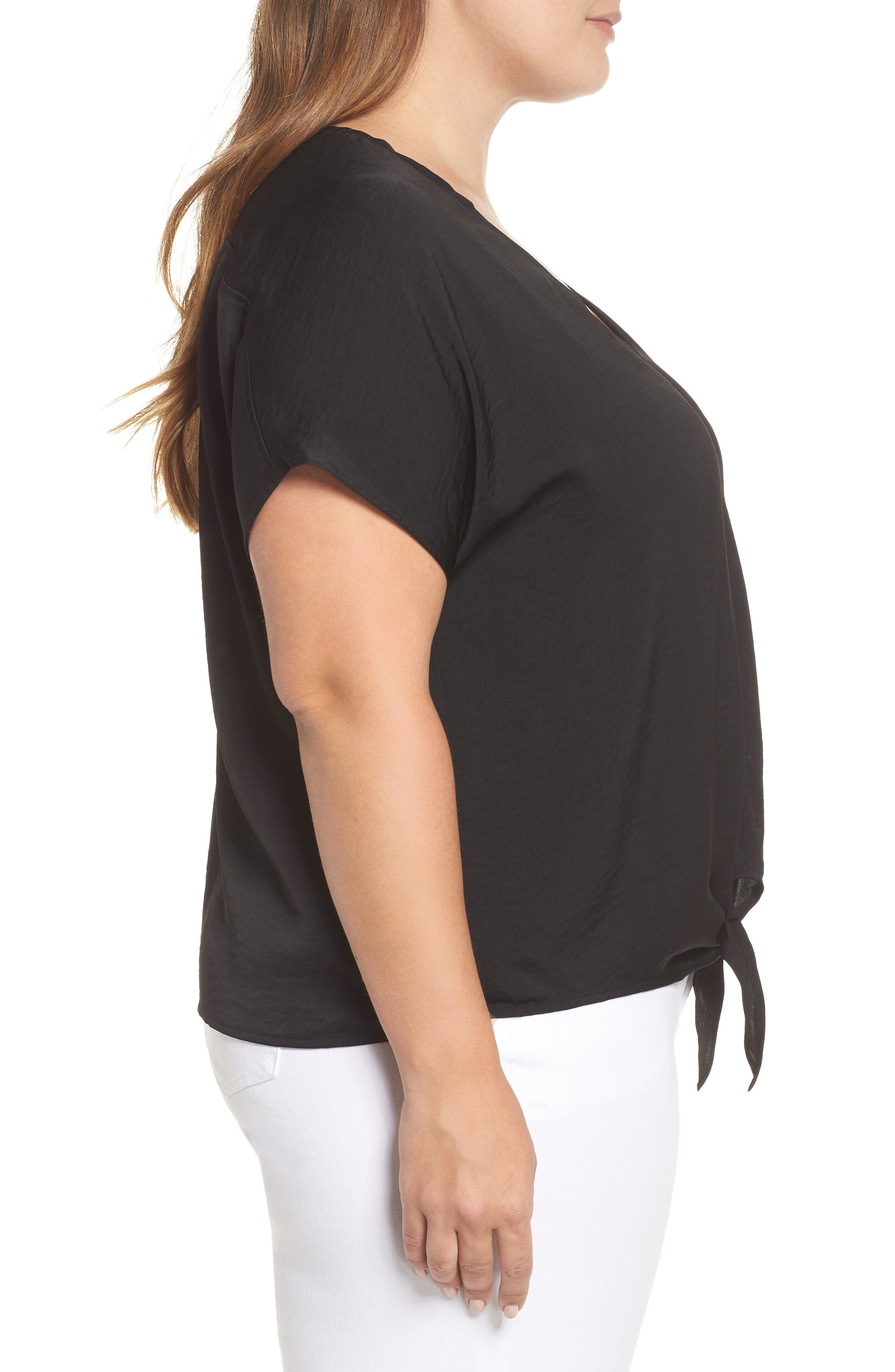 Tie Front Satin Top,                             Alternate thumbnail 3, color,                             Lucky Black