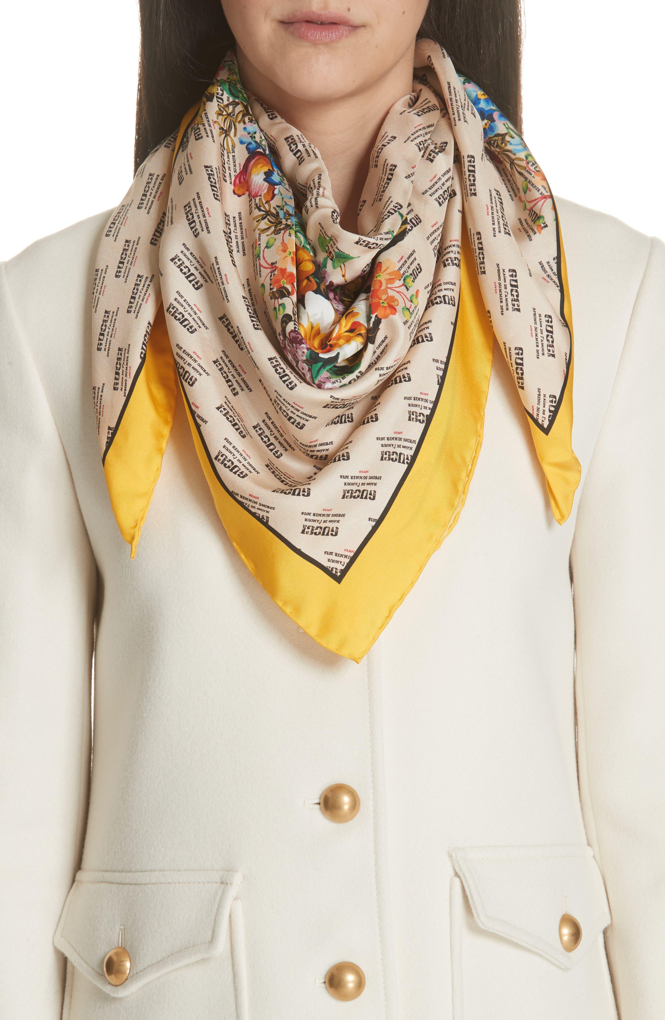 Night Flower Stripes Foulard Silk Twill Scarf,                             Alternate thumbnail 2, color,                             Ivory/ Yellow