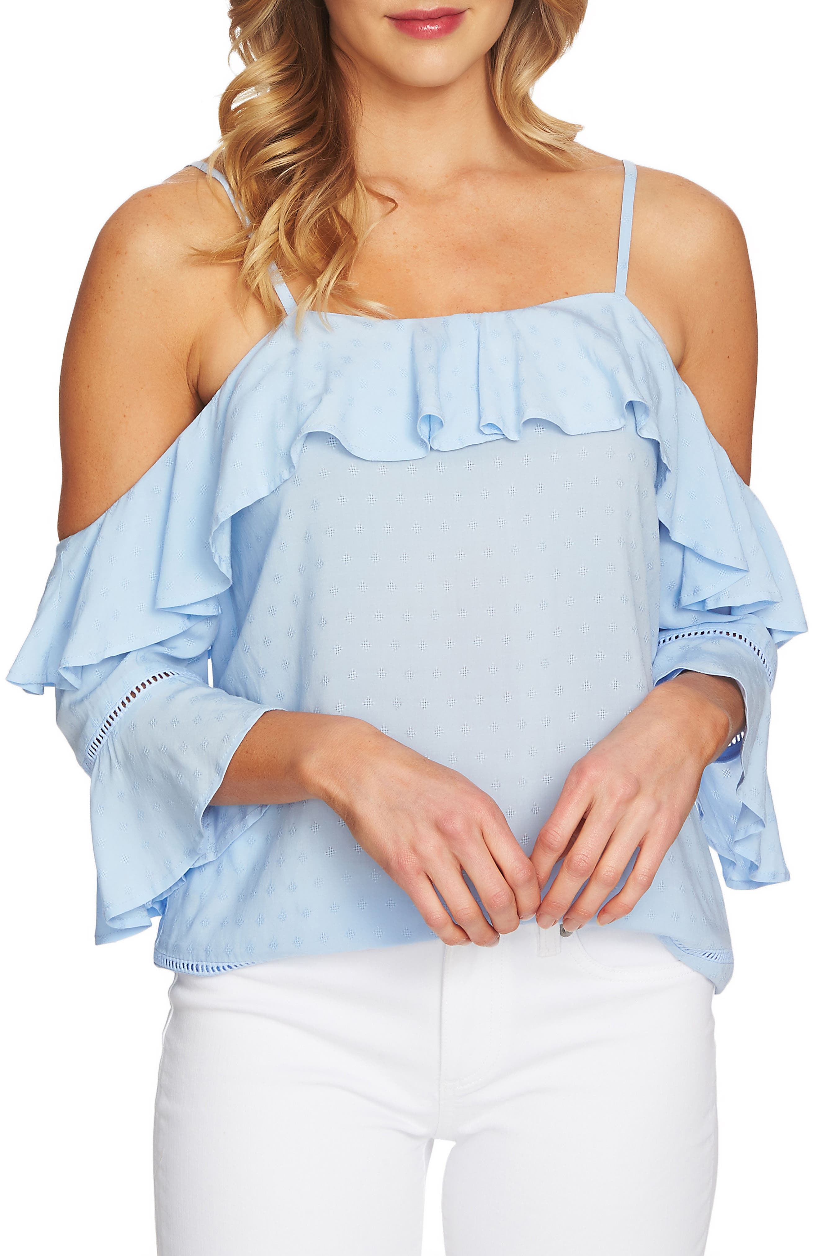 Ruffled Cold Shoulder Blouse,                             Main thumbnail 1, color,                             Blue Bird