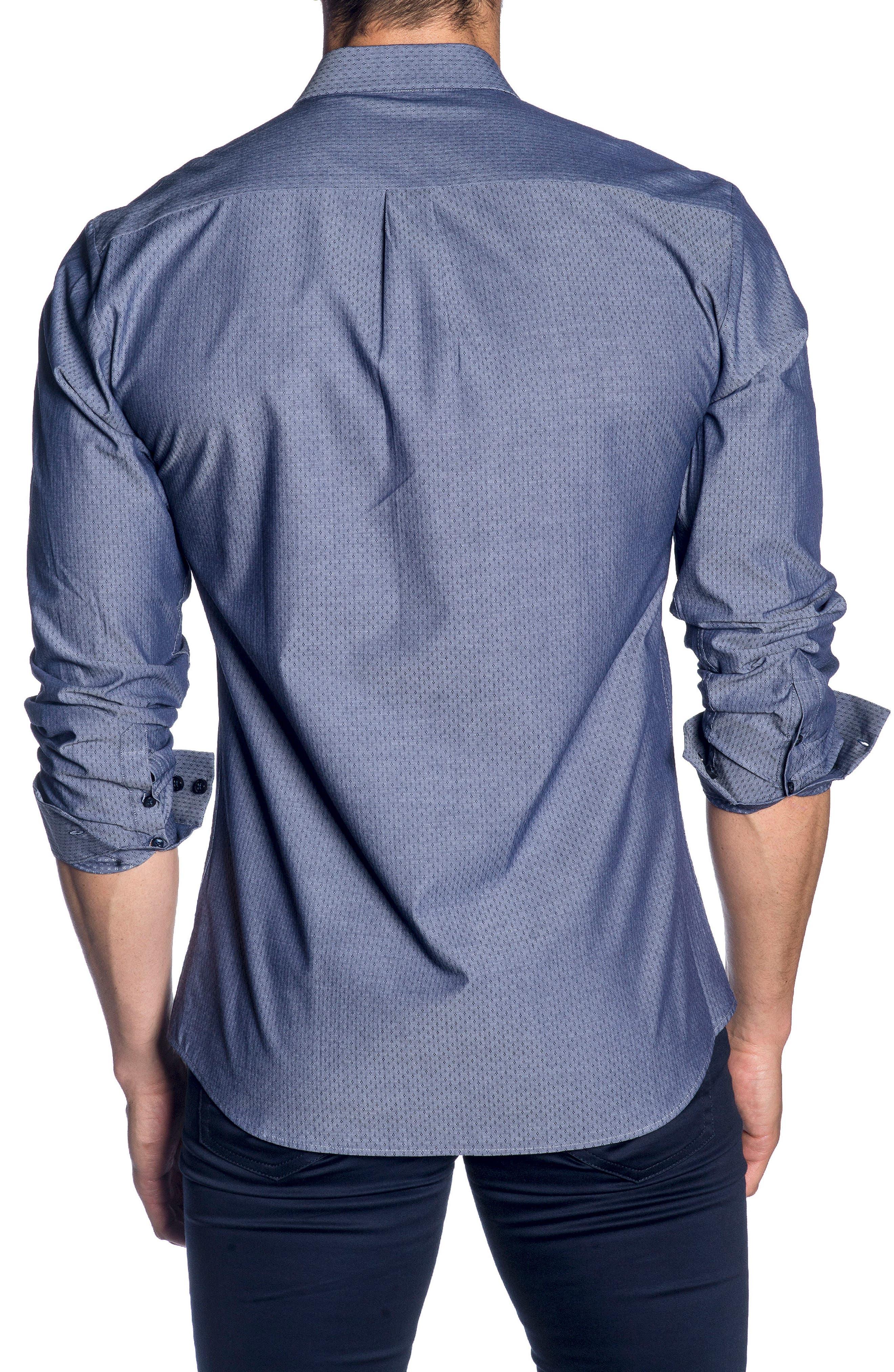 Trim Fit Sport Shirt,                             Alternate thumbnail 2, color,                             Blue Denim Jacquard