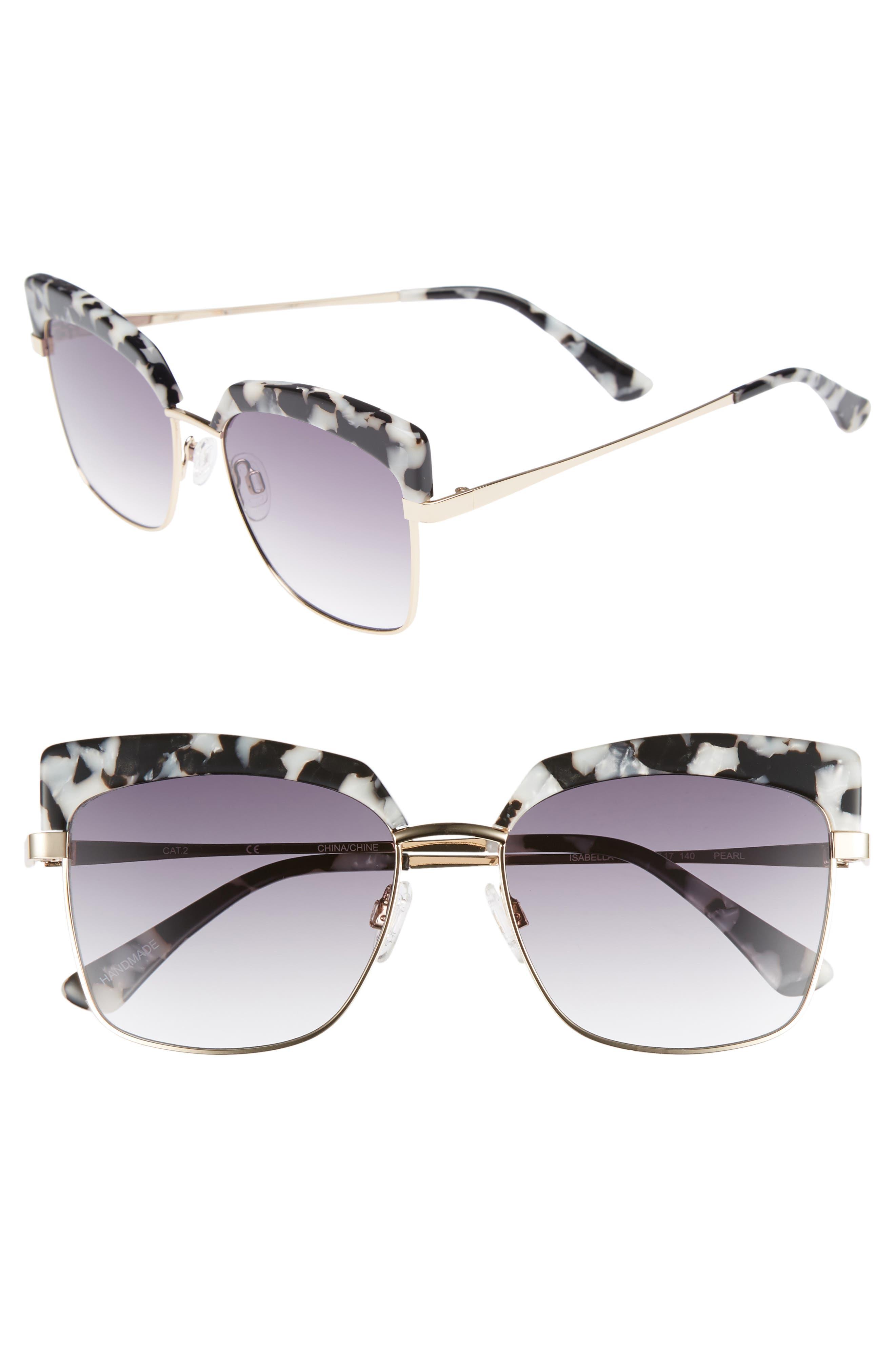 Isabella 56mm Cat Eye Sunglasses,                             Main thumbnail 1, color,                             Black Marble