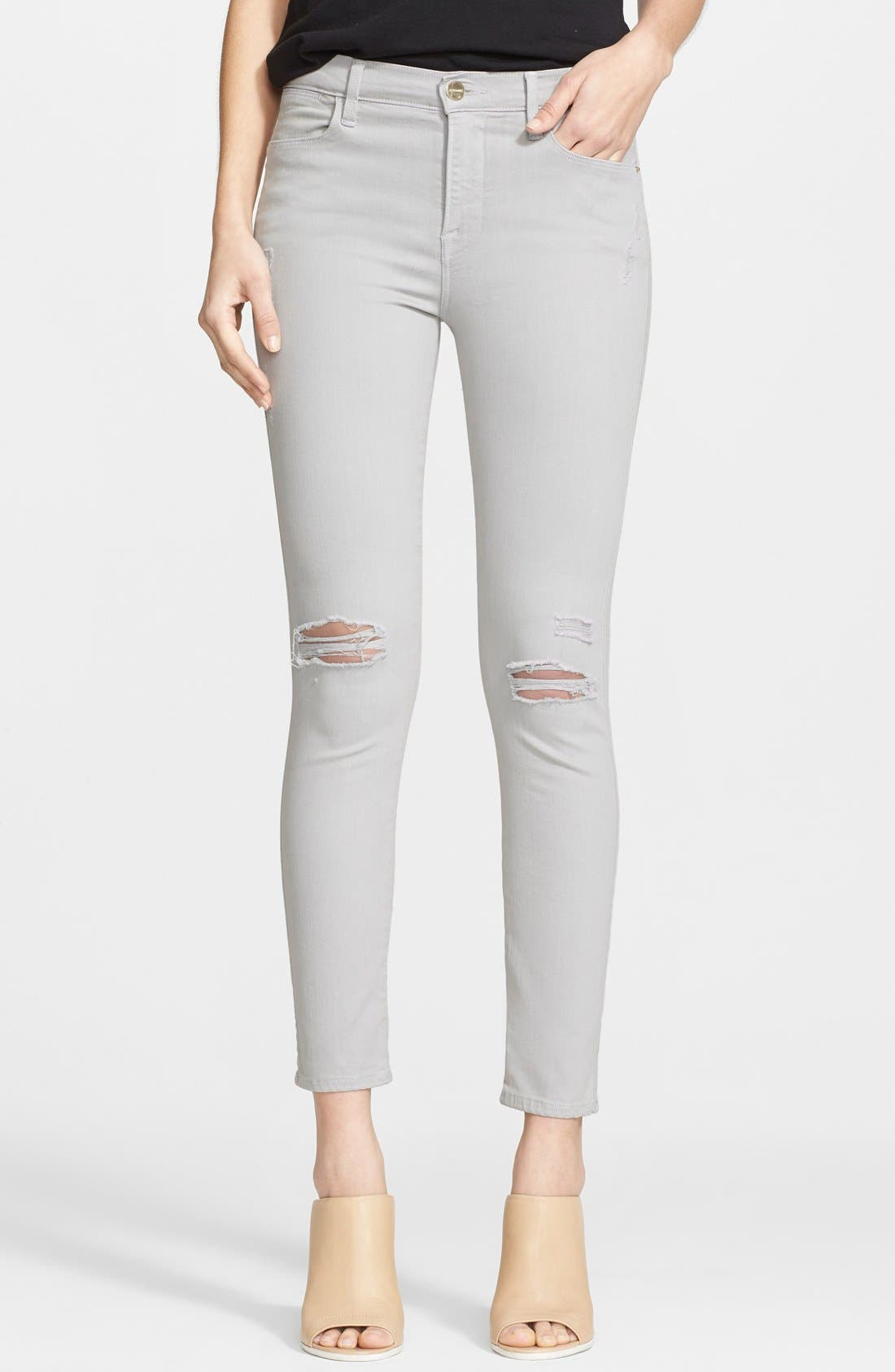 Alternate Image 1 Selected - Frame Denim 'Le High Skinny Rip' Destroyed Jeans (Putty)