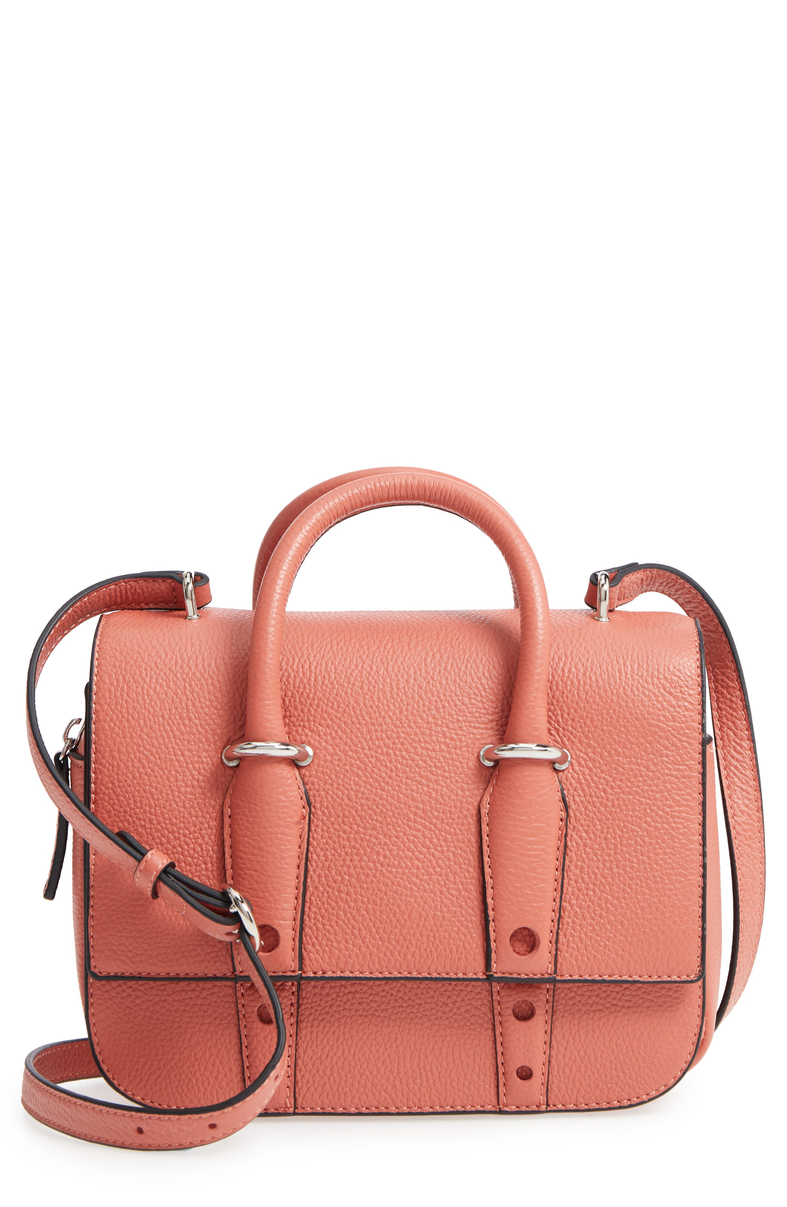 Kinsley Leather Crossbody Bag,                             Main thumbnail 1, color,                             Red
