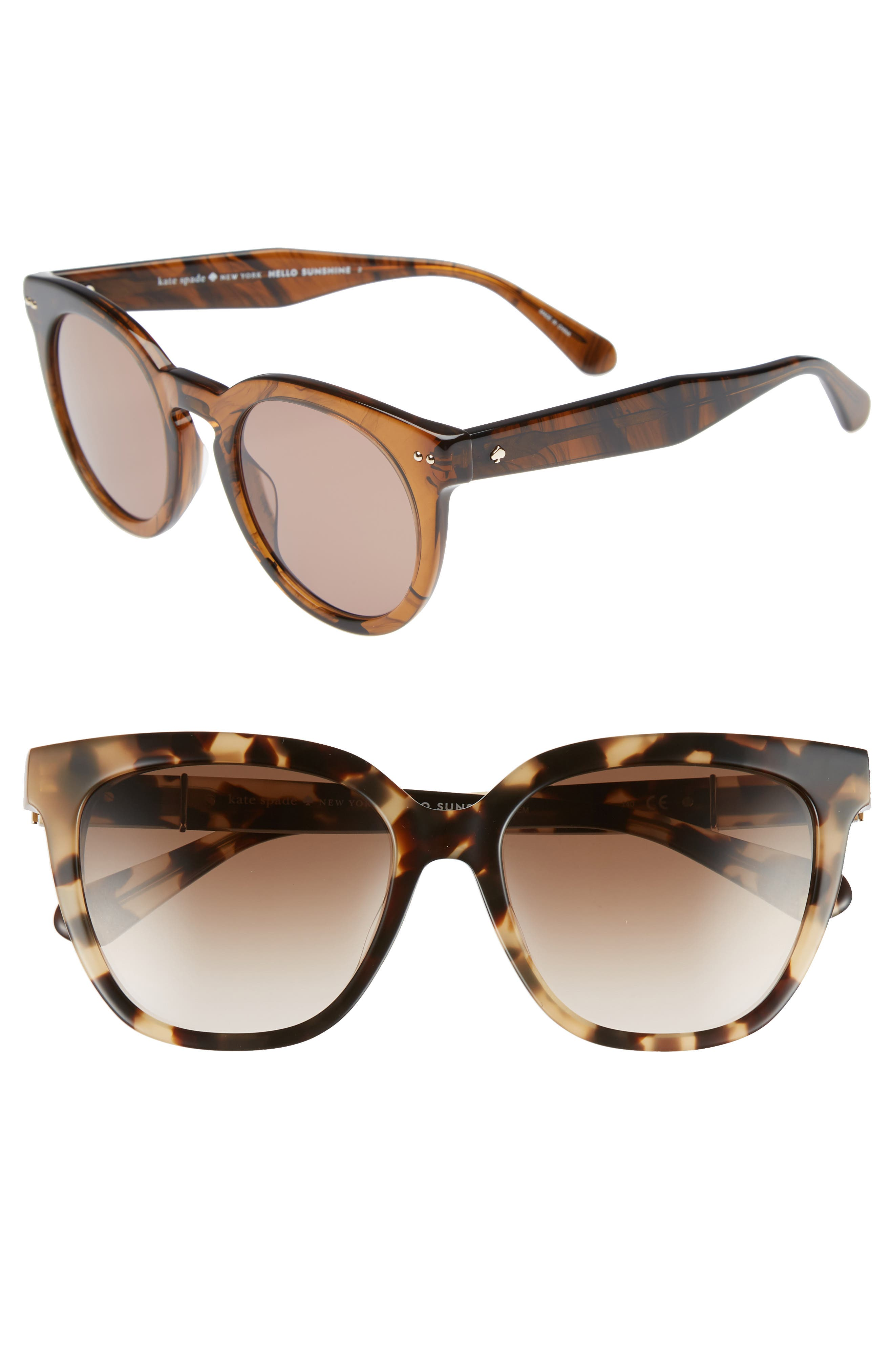 kahli 53mm cat eye sunglasses,                         Main,                         color, Dark Havana