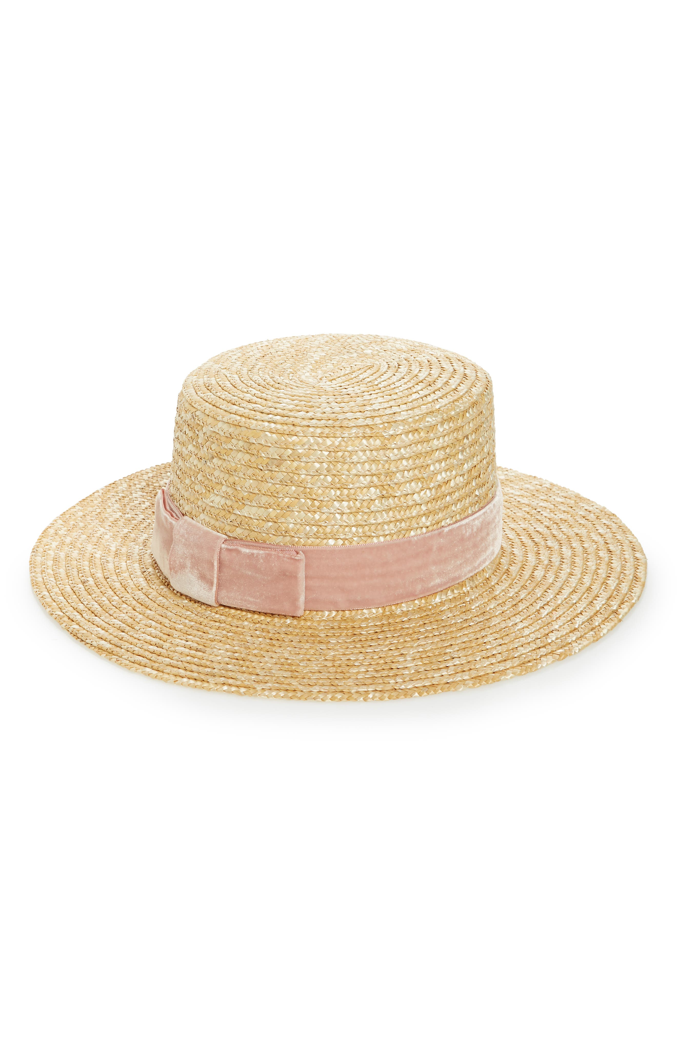Pink Velour Straw Hat,                             Alternate thumbnail 2, color,                             Pink/ Natural