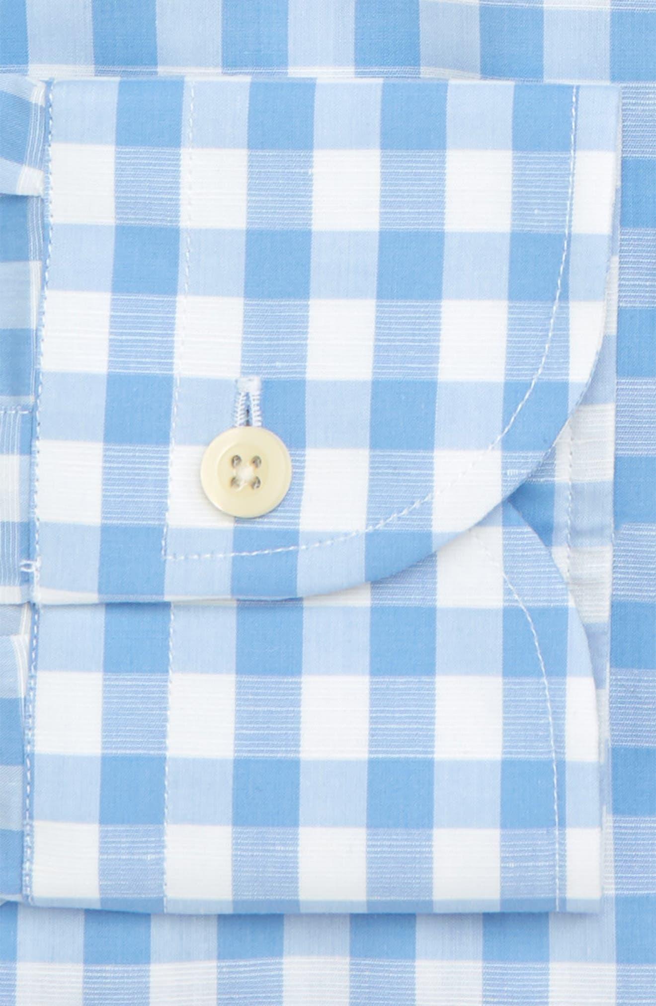 Slim Fit Winford Gingham Cotton & Linen Sport Shirt,                             Alternate thumbnail 2, color,                             Blue